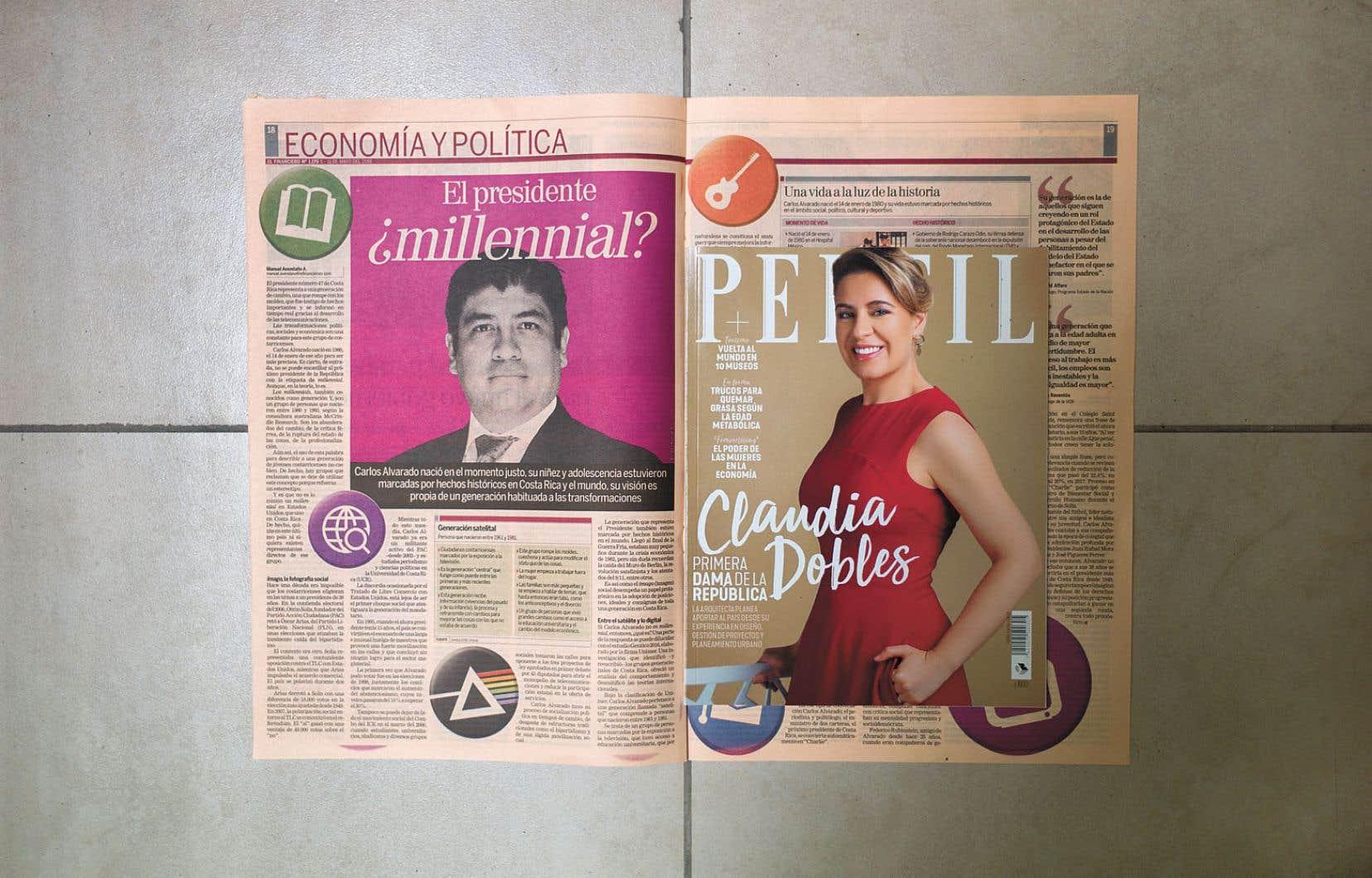 Carlos Alvarado, «président millénial?», s'interroge le quotidien «El Financiero». En une du populaire magazine «Perfil», sa conjointe, Claudia Dobles. Une couverture médiatique qui mise sur leur fraîcheur et qui rappelle celle du couple Trudeau-Grégoire.
