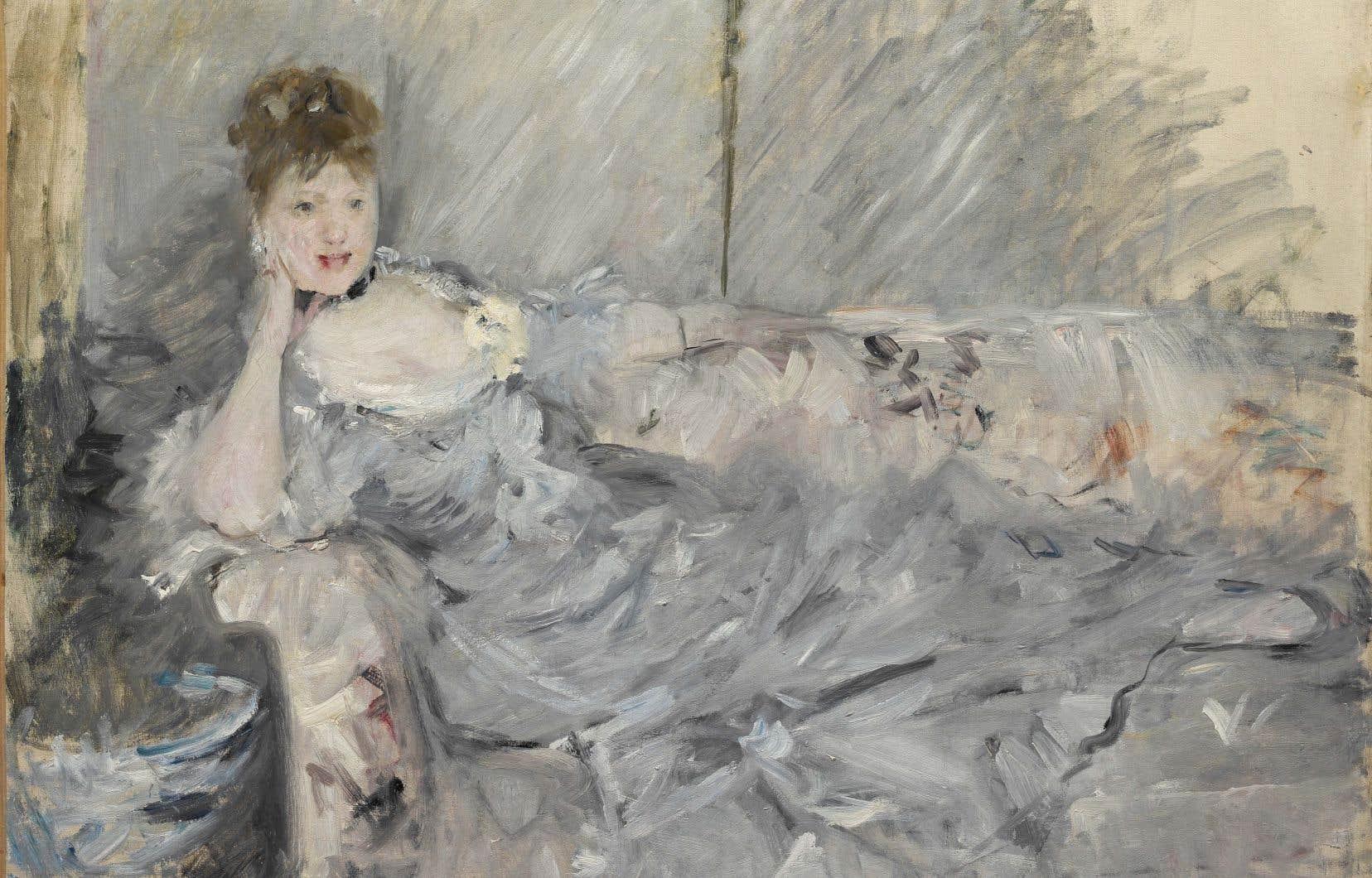 Berthe Morisot, «Jeune femme en gris étendue» (1879)