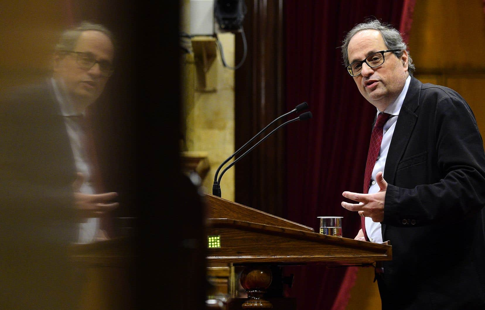 Quim Torra au parlement catalan, en mars.L'éditeur et indépendantiste a fait son entrée en politique il y a seulement quelques mois.