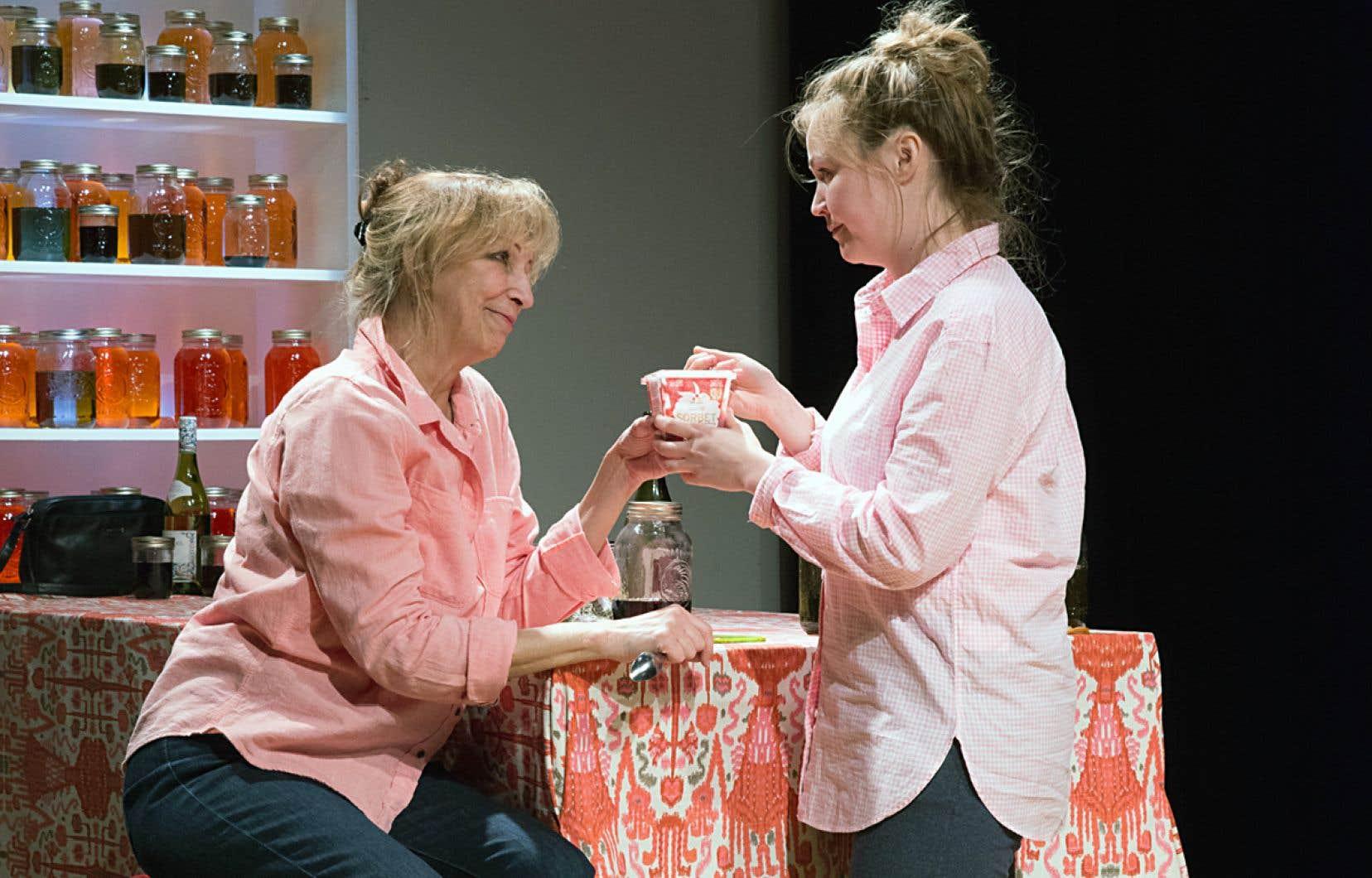 Dans la pièce, Danielle Proulx et Stéphanie Labbé jouent respectivement une mère, citadine montréalaise exubérante, et sa fille, une banlieusarde à la vie rangée.