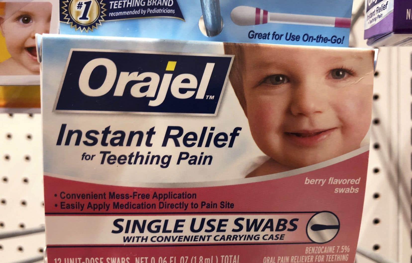 <p>La benzocaïne se retrouve dans plusieurs produitscomme l'Orajel,utilisépour soulager les lésions de la bouche.</p>