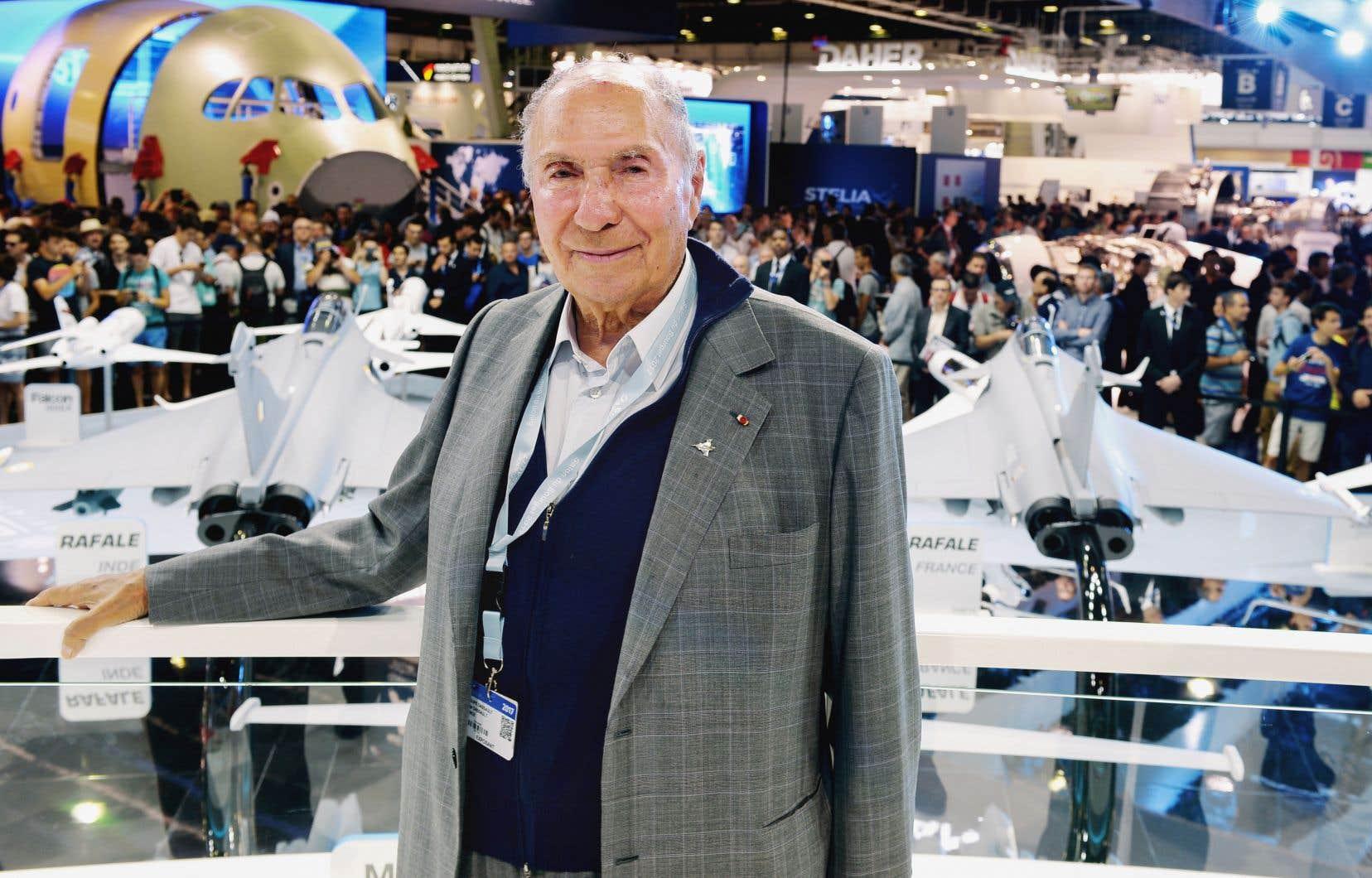 Le milliardaire français Serge Dassault, décédé lundi à l'âge de 93ans, au Salon international de l'aviation de Paris en 2017