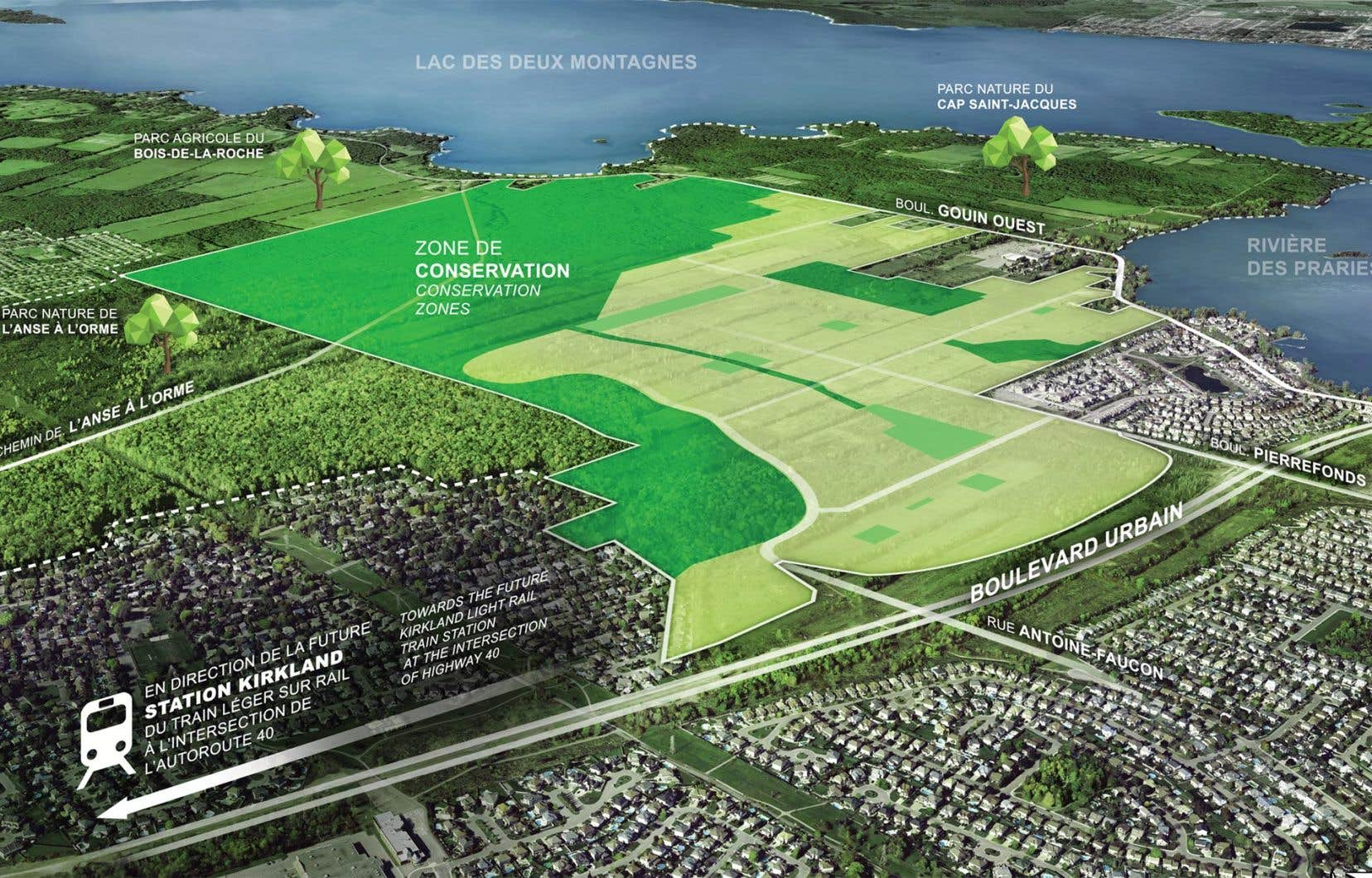 Le projet Cap-Nature prévoit la construction de 5500 habitations sur 185 hectares. En revanche, 180 hectares de milieux naturels seront intégrés au parc-nature de l'Anse-à-l'Orme.