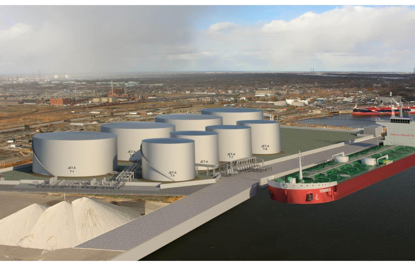 Le projet de la CIAM nécessitera la construction de huit réservoirs d'entreposage de carburant en bordure du fleuve Saint-Laurent.