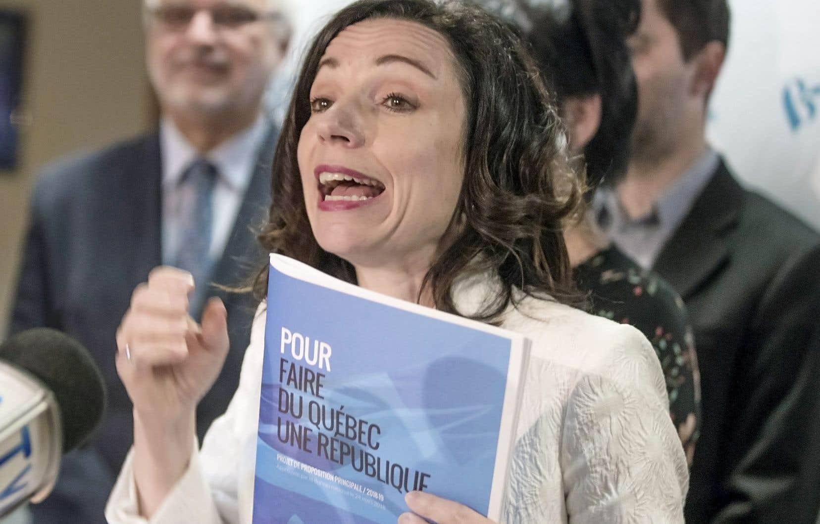 La chef démissionnaire du Bloc québécois,Martine Ouellet, en conférence de presse, lundi dernier