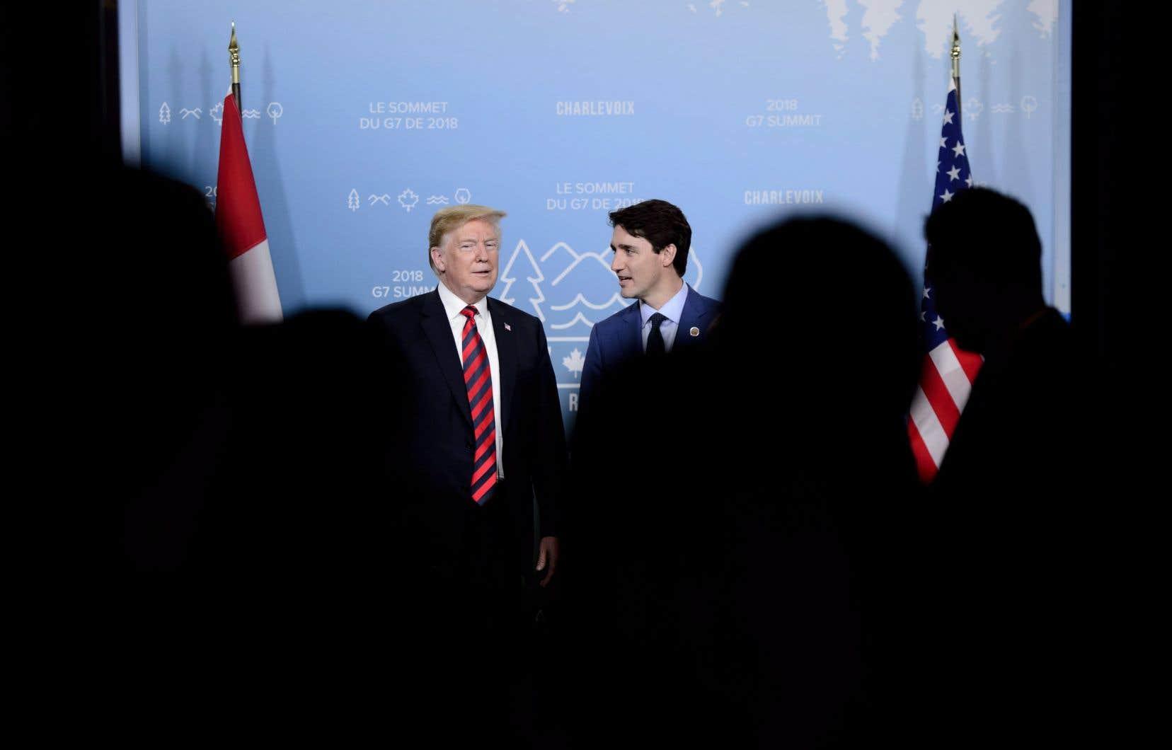 Le premier ministre canadien, Justin Trudeau, et le président américain, Donald Trump, se sont rencontrés durant le sommet du G7.