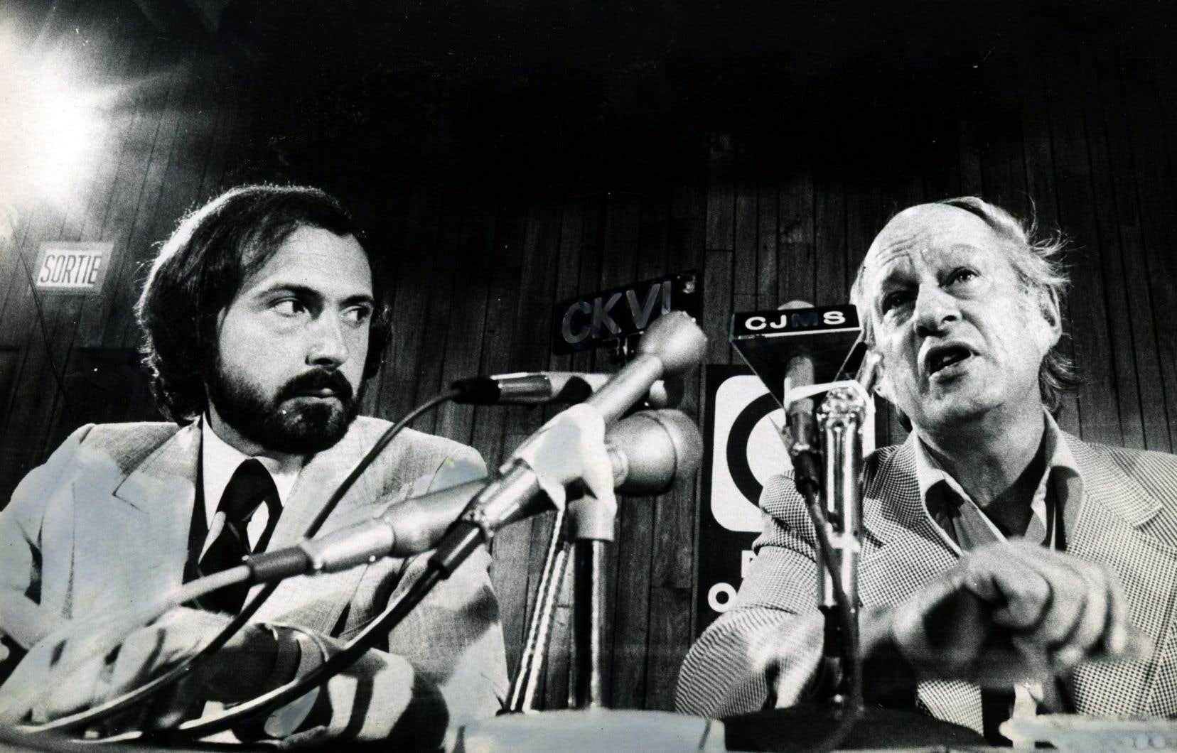 L'ancien ministre Guy Joron en compagne de l'ex-premier ministre du Québec René Lévesque, en 1974