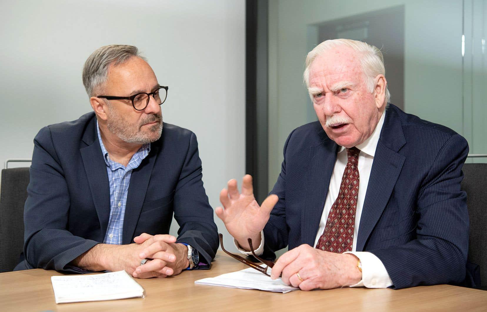 Daniel Boyer, vice-président du conseil d'administration du Fonds de solidarité FTQ et président de la Fédération des travailleurs et travailleuses du Québec, et Robert Parizeau, président du conseil d'administration du Fonds