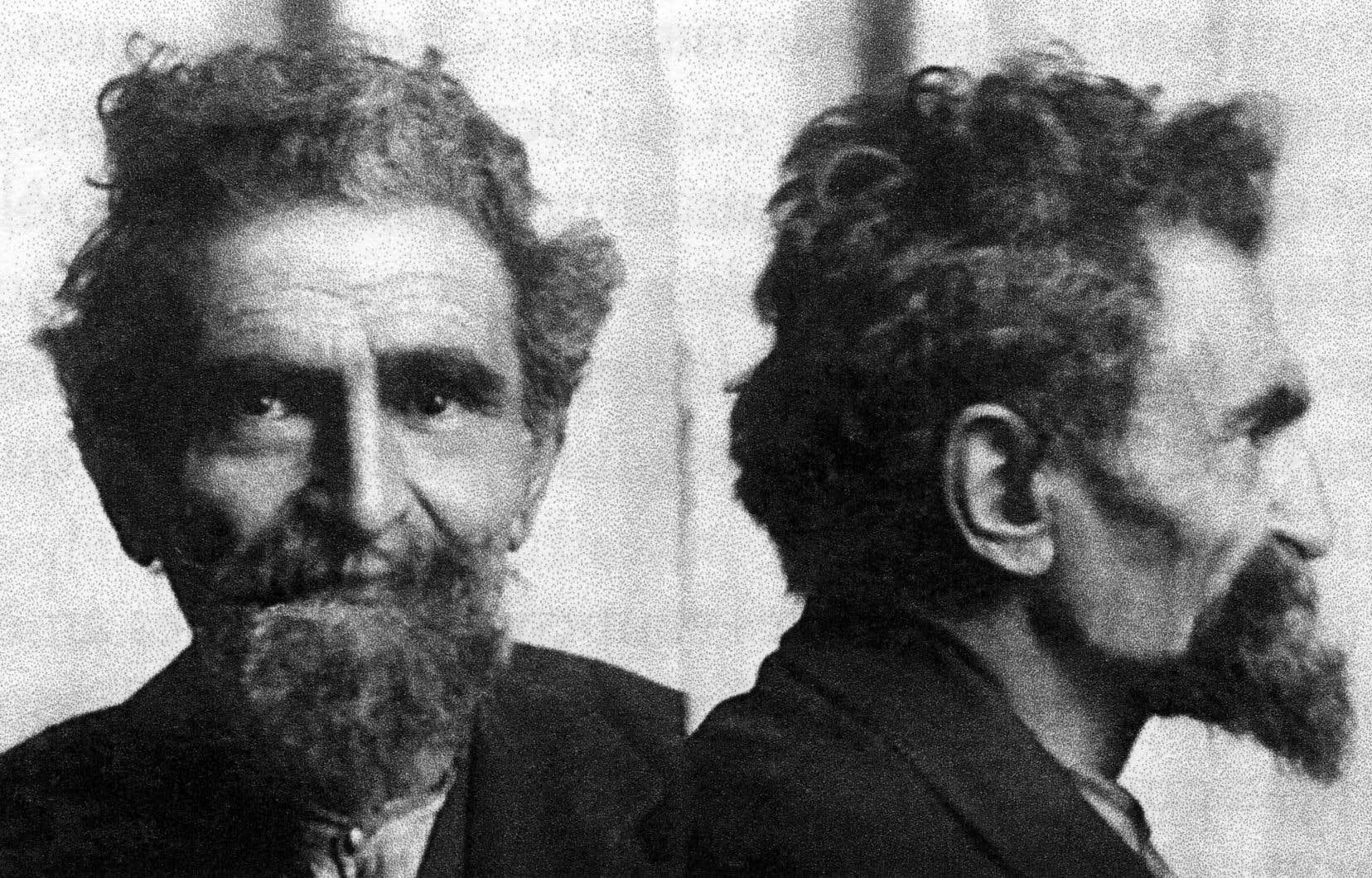 Face.Profil. Photos signalétiques de Malatesta prises en 1921 lors d'une arrestation.