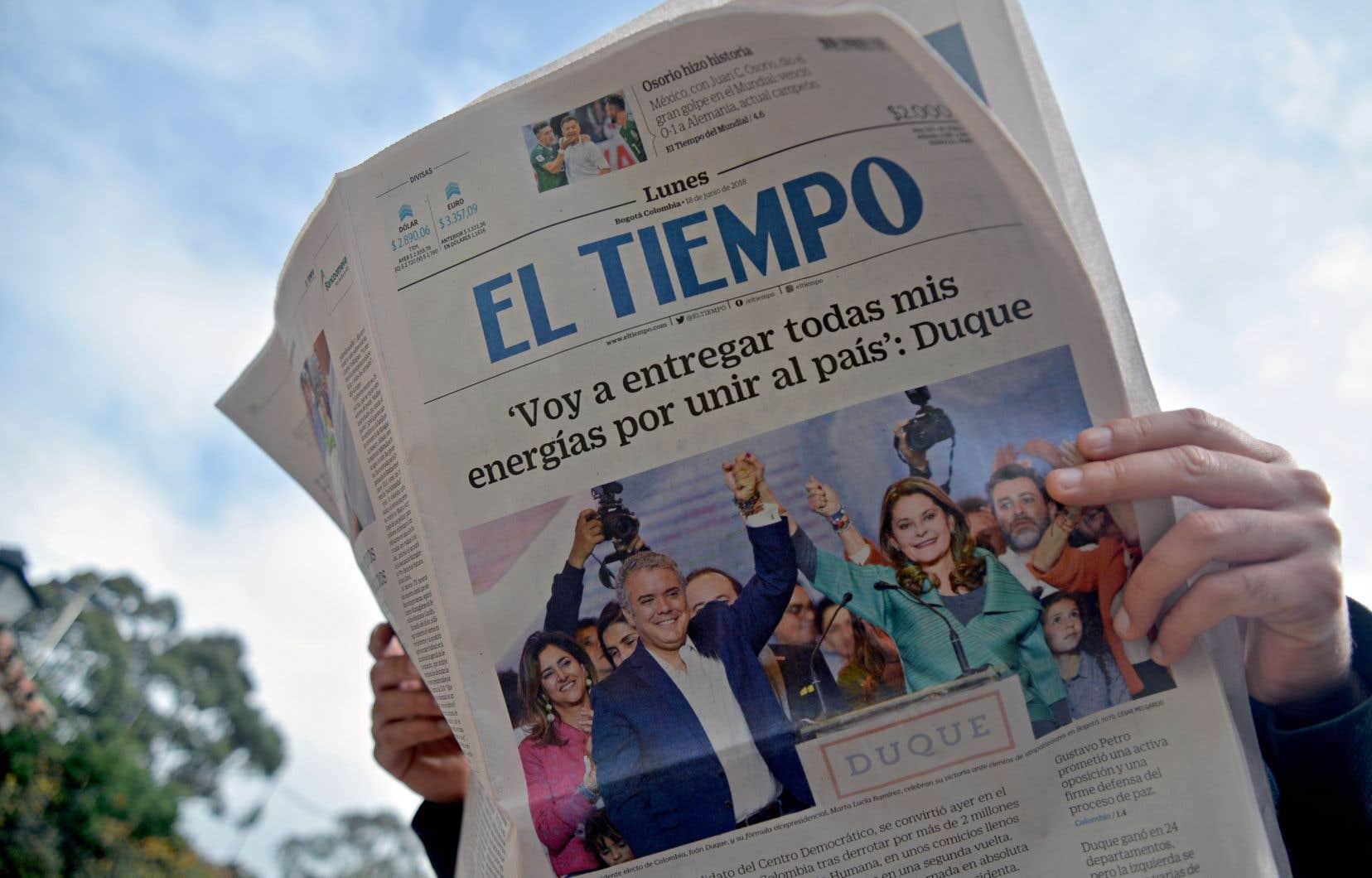 «Je mettrai toutes mes énergies à unir le pays», rapportait le quotidien colombien «El Tiempo» au lendemain de l'élection d'Iván Duque.