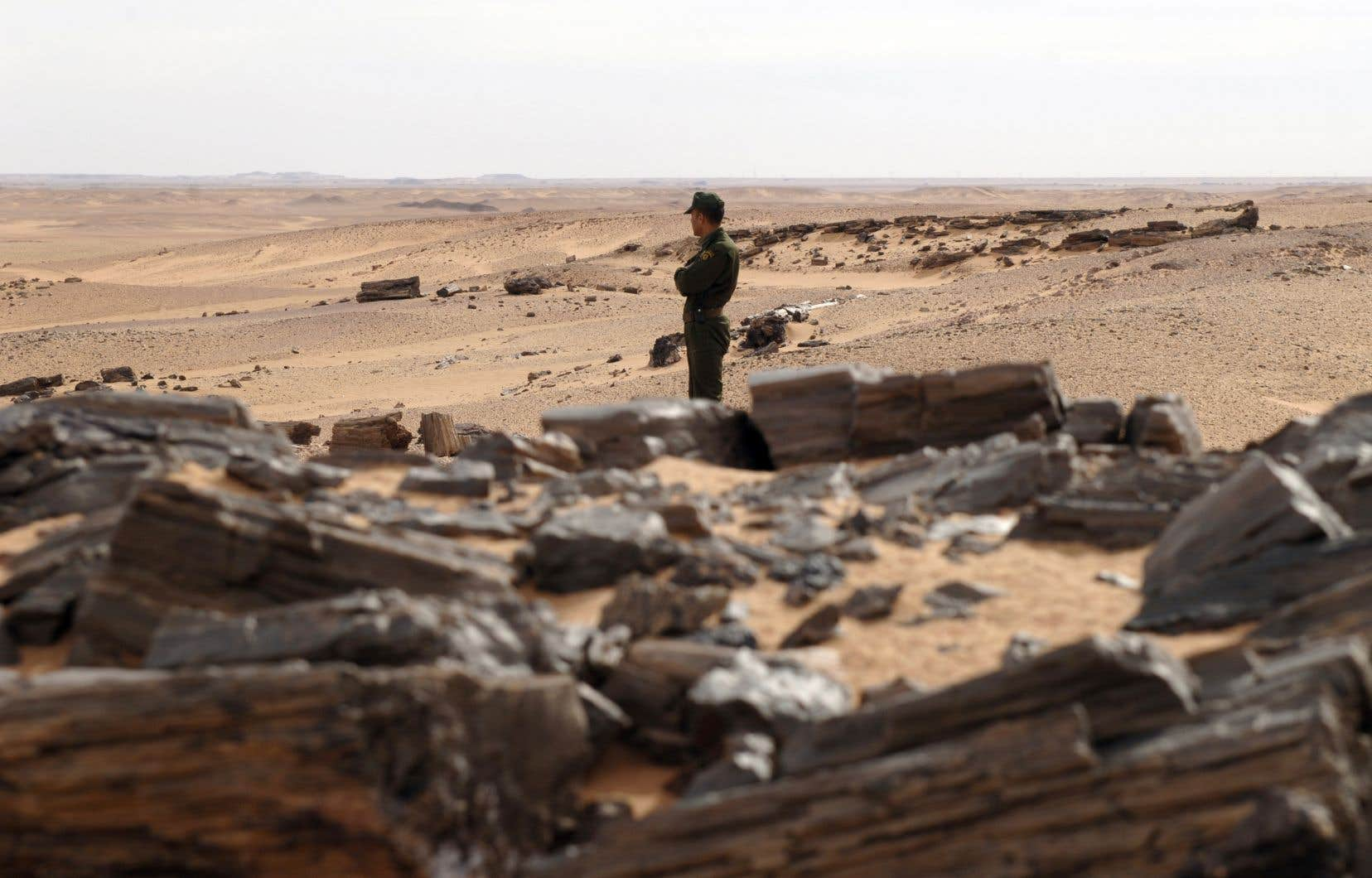 Un garde-frontière en patrouille au sud de l'Algérie