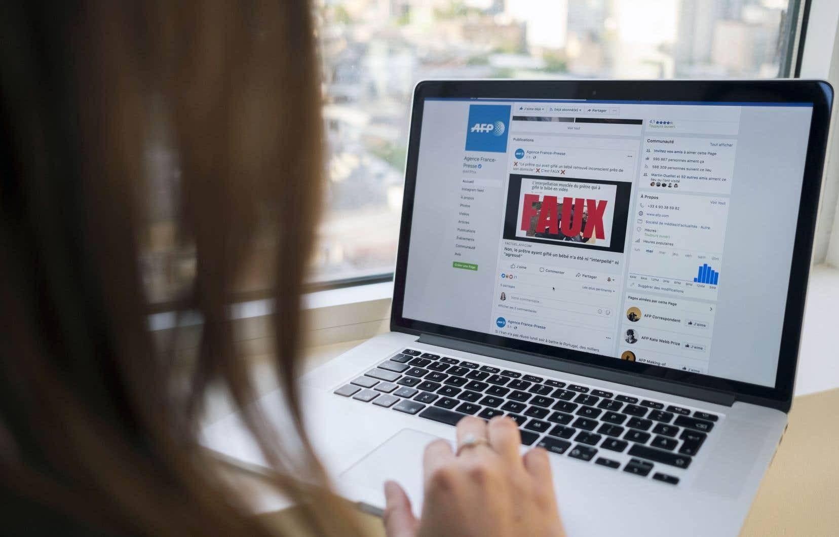 Les vérificateurs de l'AFP vont évaluer les actualités canadiennes signalées comme problématiques pour en déterminer la véracité, ou du moins ce que le réseau social appelle le «taux d'exactitude».