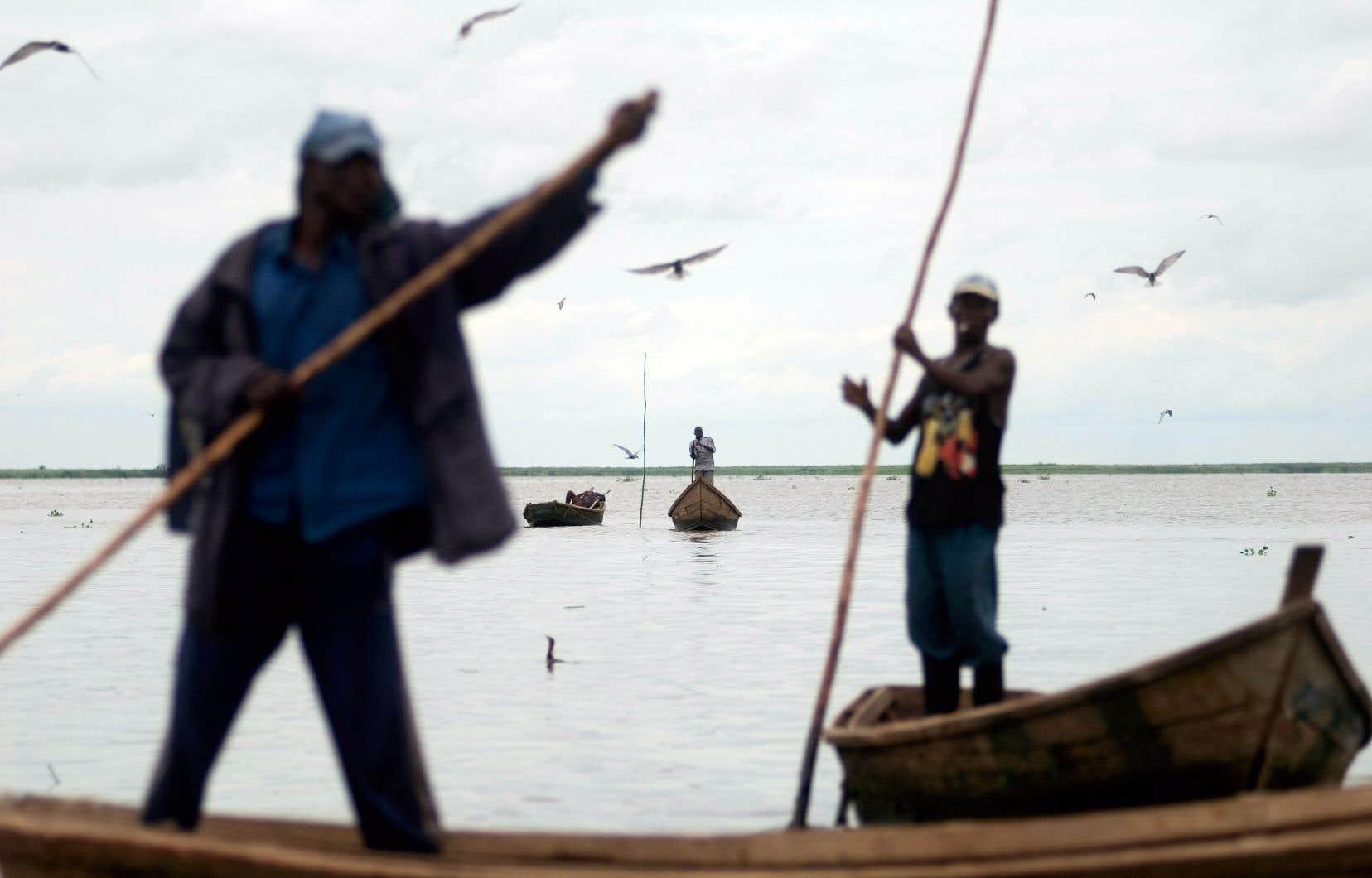 Les relations entre la RDC et l'Ouganda sont difficiles étant donné leur désaccord sur le partage des ressources énergétiques du lac Édouard, notamment. Ci-dessus, des pêcheurs sur le lac Albert, lui aussi à cheval sur la frontière.