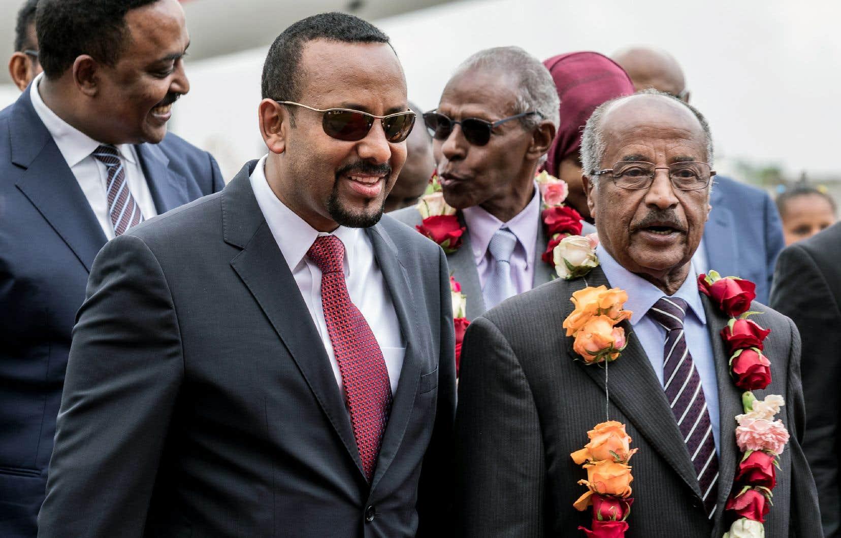 Le premier ministre éthiopien, Abiy Ahmed, et le ministre des Affaires étrangères d'Érythrée, Osman Saleh Mohammed