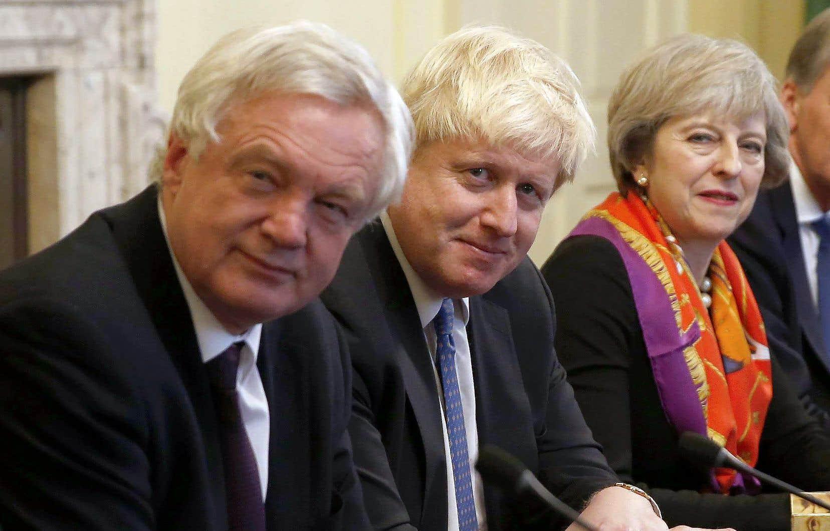 David Davis, Boris Johnson et Theresa May en novembre 2016