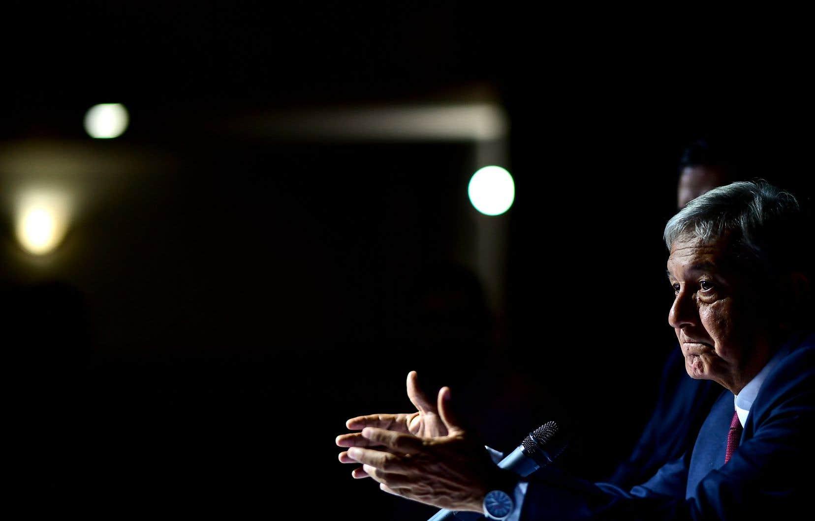 Le président élu du Mexique,Andres Manuel López Obrador, lors d'une conférence de presse à Mexico la semaine dernière