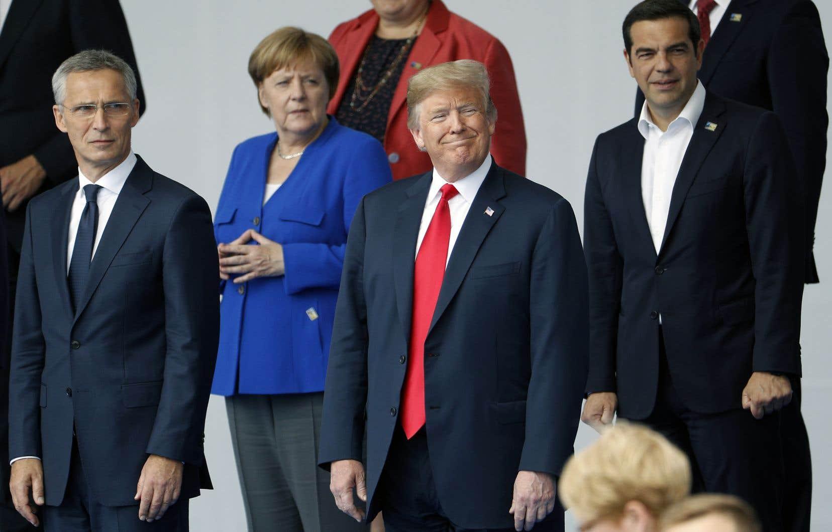 Angela Merkel et Donald Trump au sommet de l'OTAN, mercredi