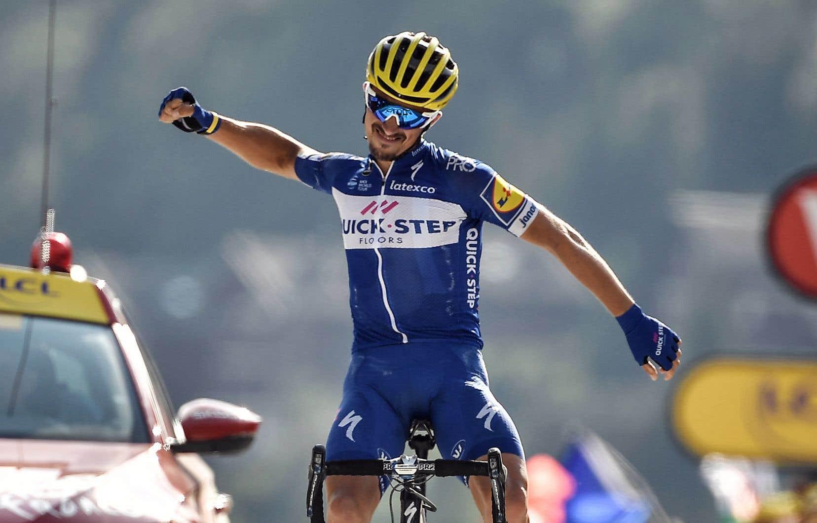 Victime d'une série de frustrations depuis le début de sa carrière, Julian Alaphilippe a savouré sa victoire mardi à l'arrivée de la 10eétape du Tour de France en Haute-Savoie.