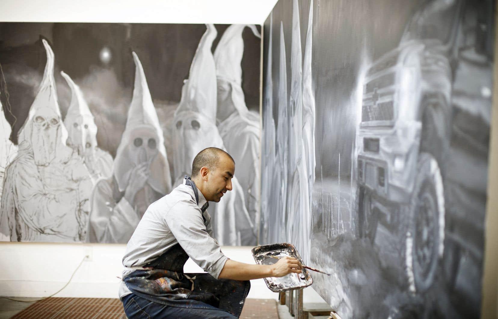 L'artiste Vincent Valdez dans son studio, en 2016