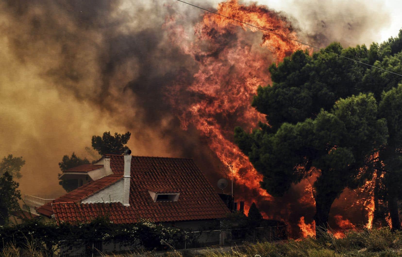 Les flammes ont poussé les habitants sur les routes dans la panique, et endommagé de nombreux bâtiments.