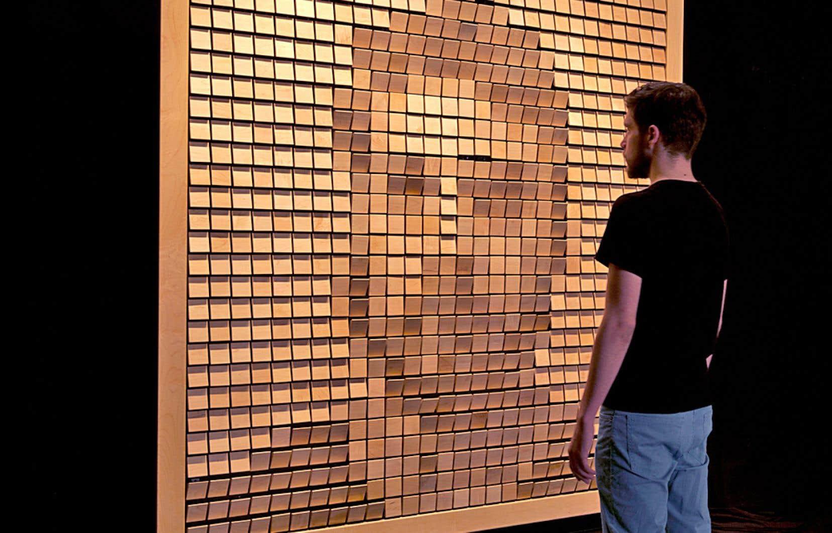 Avec son «Wooden Mirror» (2014), Daniel Rozin fait du pixel une matière concrète (du bois), tout en jouant sur la lisibilité des détails, selon la distance choisie par le modèle.