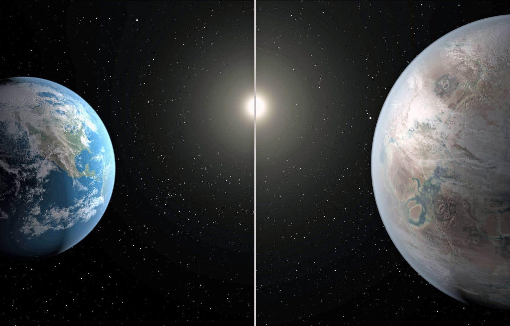 L'exoplanète Kepler 452b, dont le diamètre est 1,5 fois plus grand que celui de la Terre, tourne autour d'une étoile semblable à notre Soleil.