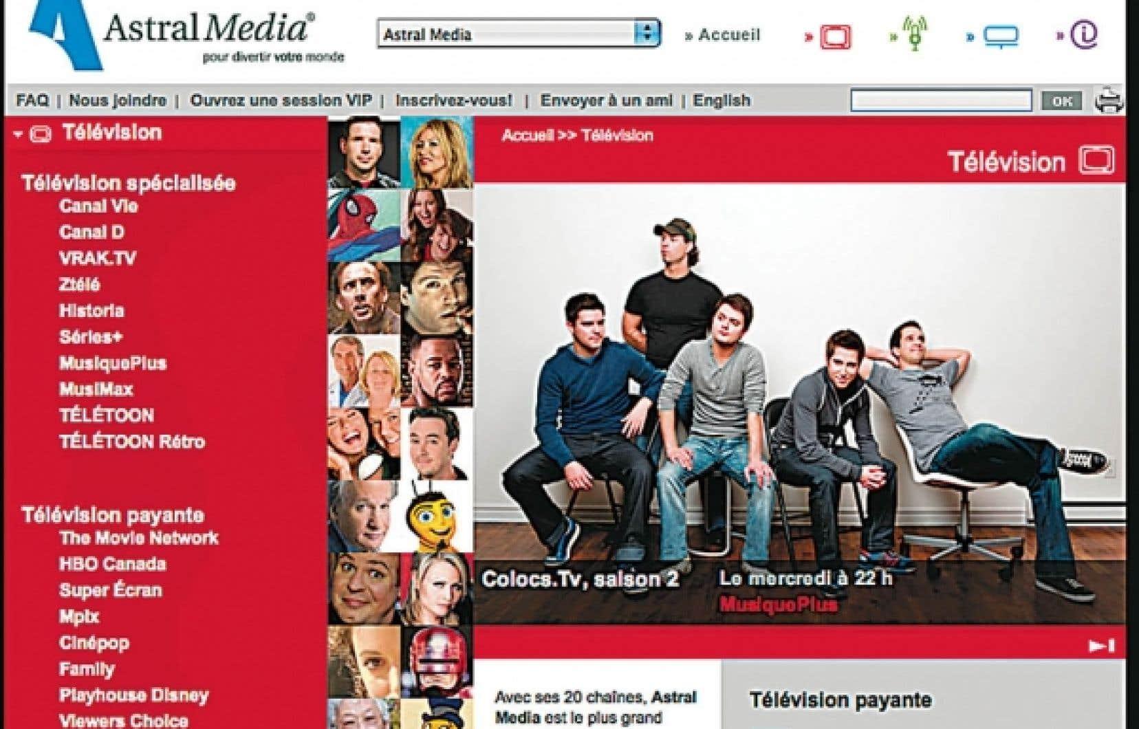 L'offre est plutôt généreuse en matière de diffusion d'émissions en ligne. Ci-dessus, tou.tv, de Radio-Canada, et la section Télévision d'Astral Media.