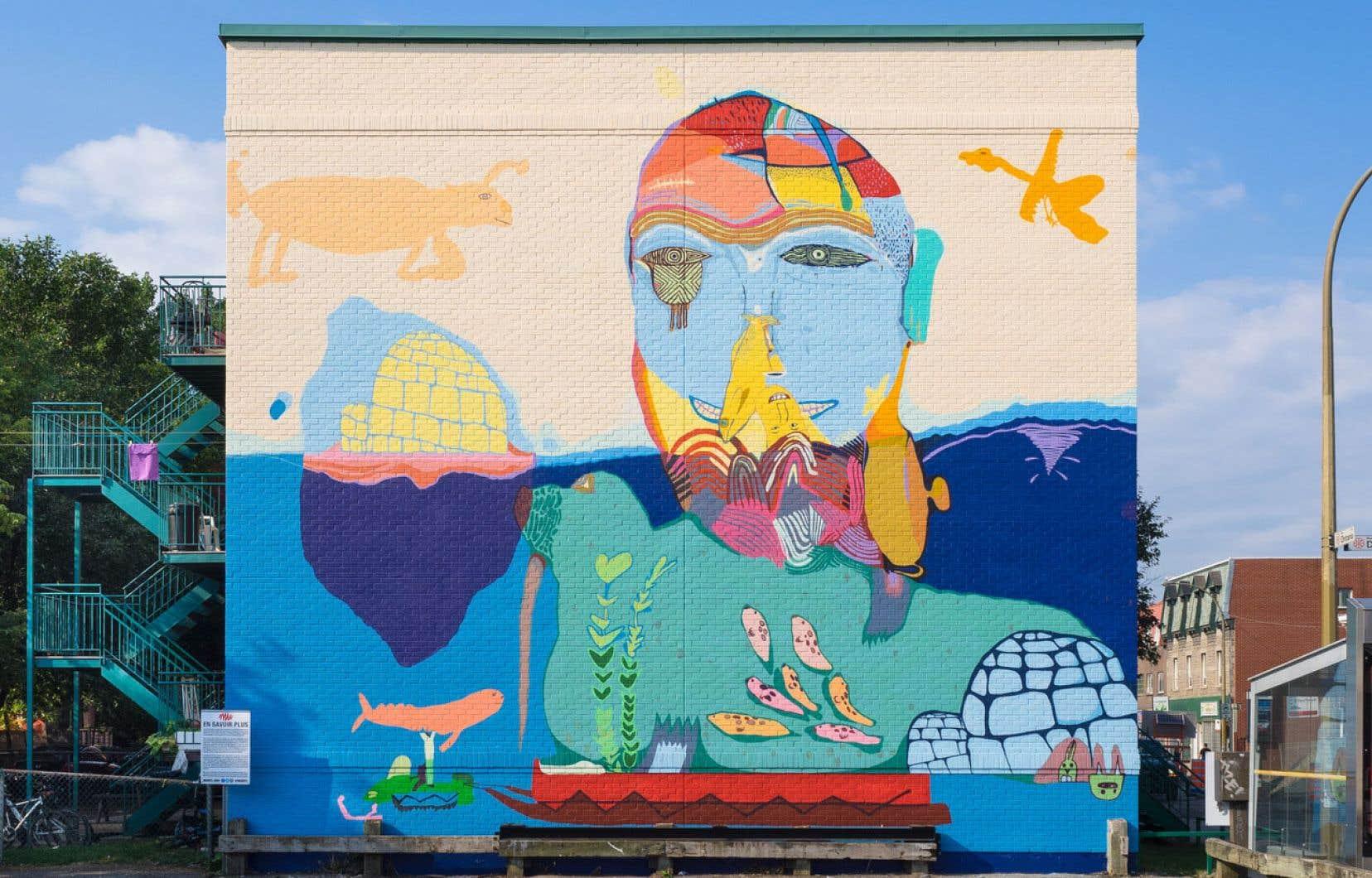 MU a toujours eu de l'intérêt pour l'art autochtone, selon sa directrice Elizabeth-Ann Doyle. Ici, Qanuqtuurniq, réalisée en 2016 par des jeunes de Cape Dorset, au Nunavut, en collaboration avec des muralistes professionnels.