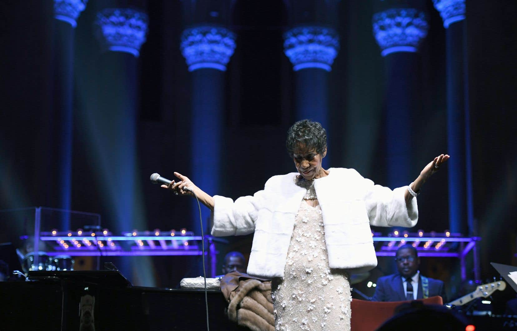 Aretha Franklin en spectacle à la Cathedral of St. John the Divine, le 7 novembre 2017 à New York