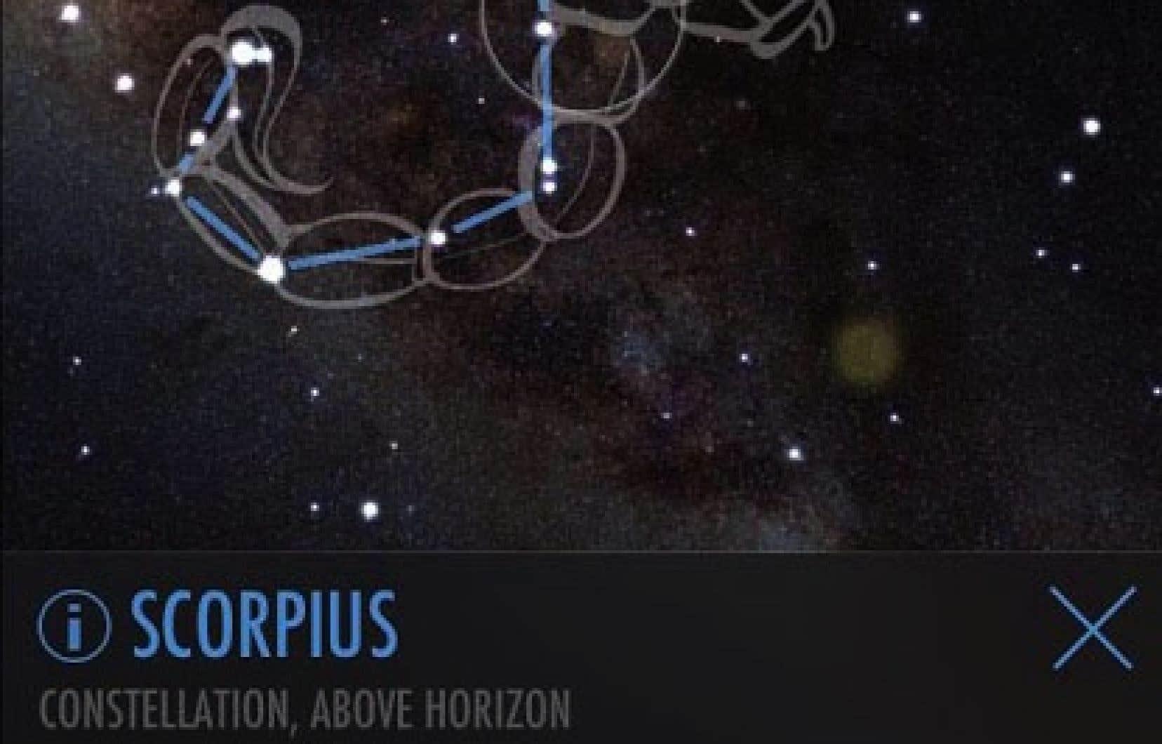 SkyView Lite permet d'identifier à l'aide de son appareil photo les diverses constellations et planètes visibles au-dessus de nous.