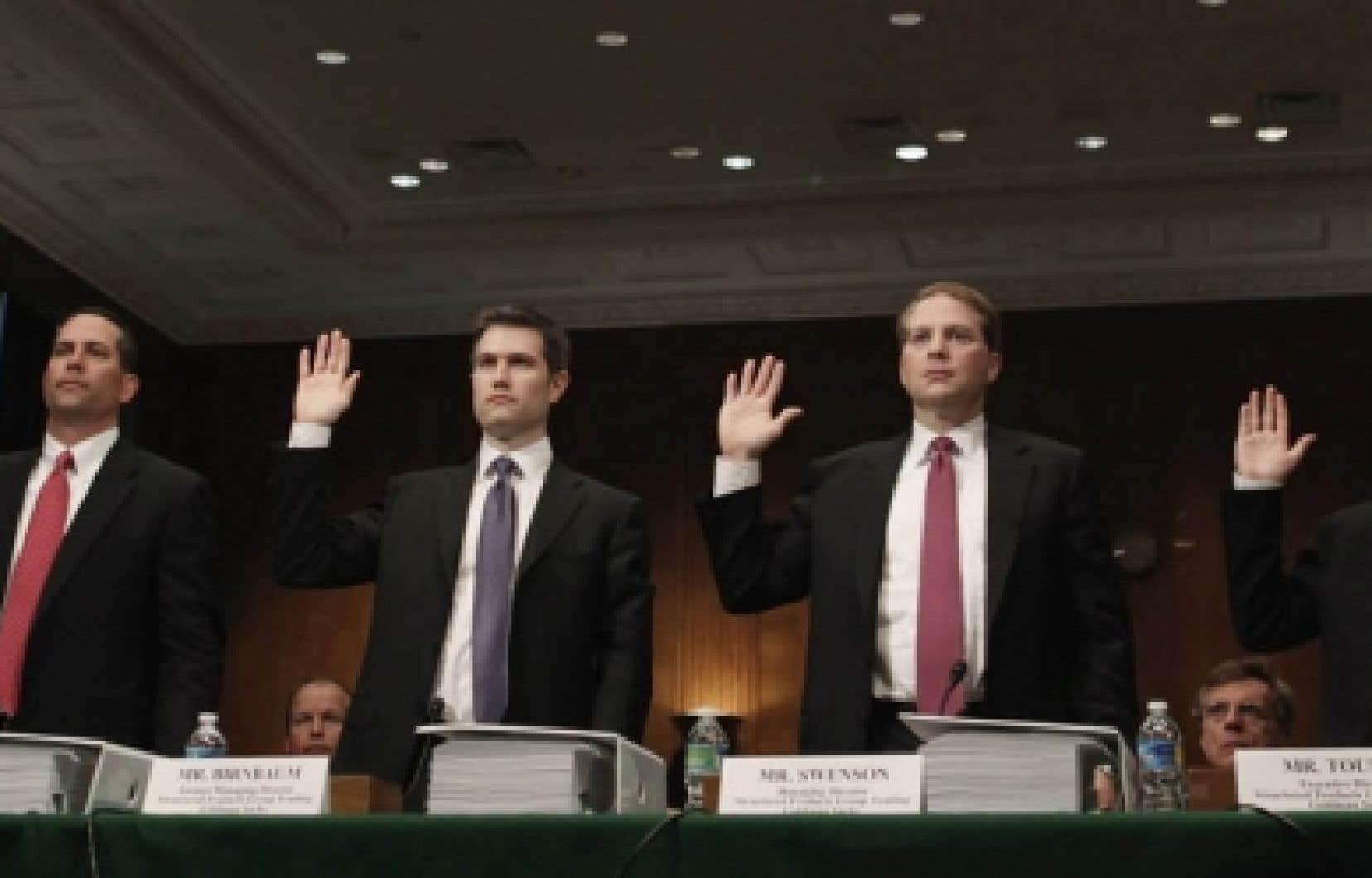 Daniel Sparks, Joshua Birnbaum, Michael Swenson, et Fabrice Tourre, membres de la direction de Goldman Sachs, ont essuyé répondu aux questions insistantes des sénateurs américains.