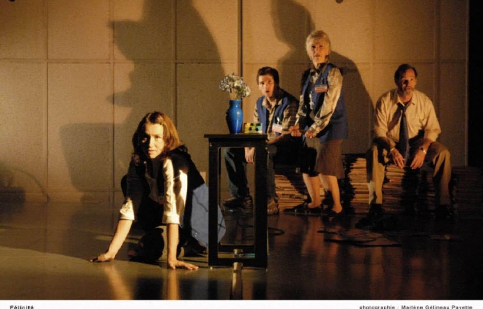 Les protagonistes de Félicité, quatre employés d'un magasin à grande surface: Isabelle Roy, Maxime Denommée, Muriel Dutil, Roger La Rue.
