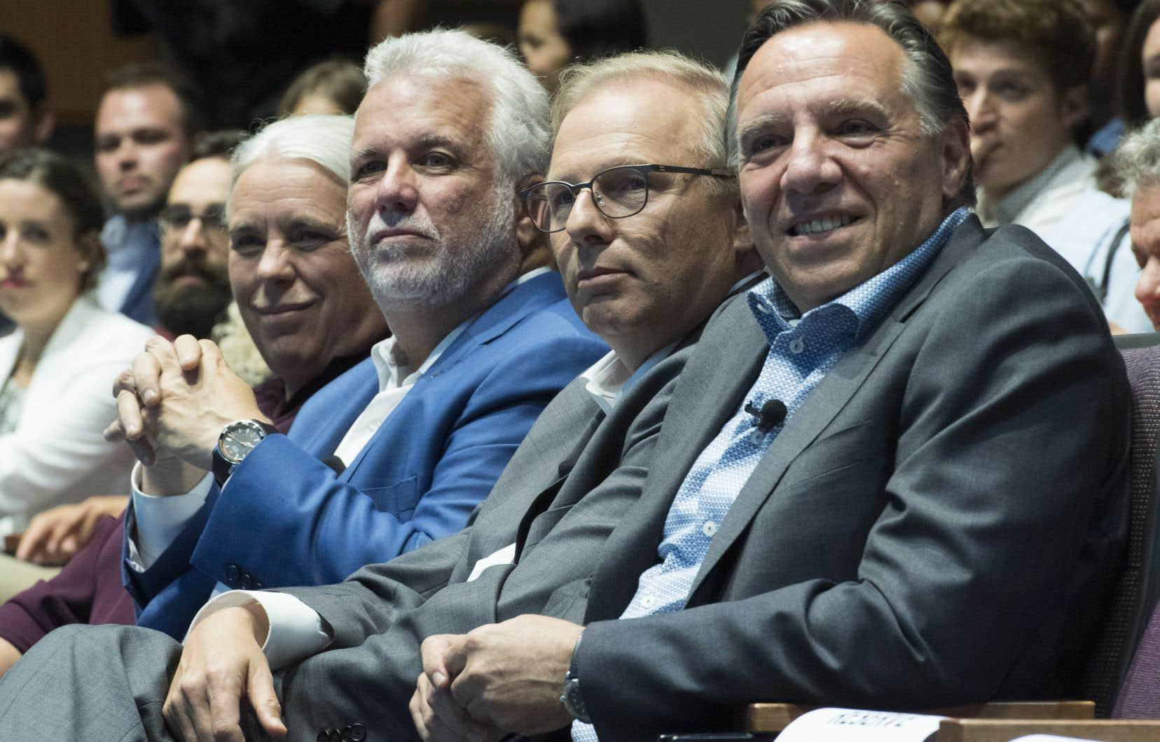 De gauche à droite, Manon Massé, co-porte-parole de Québec solidaire, Philippe Couillard, chef du parti libéral du Québec, Jean-François Lisée, chef du parti québécois et François Legault, chef de la Coalition Avenir Québec.