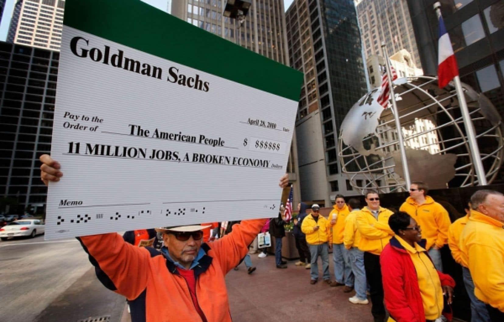 Manifestation à New York cette semaine devant Goldman Sachs