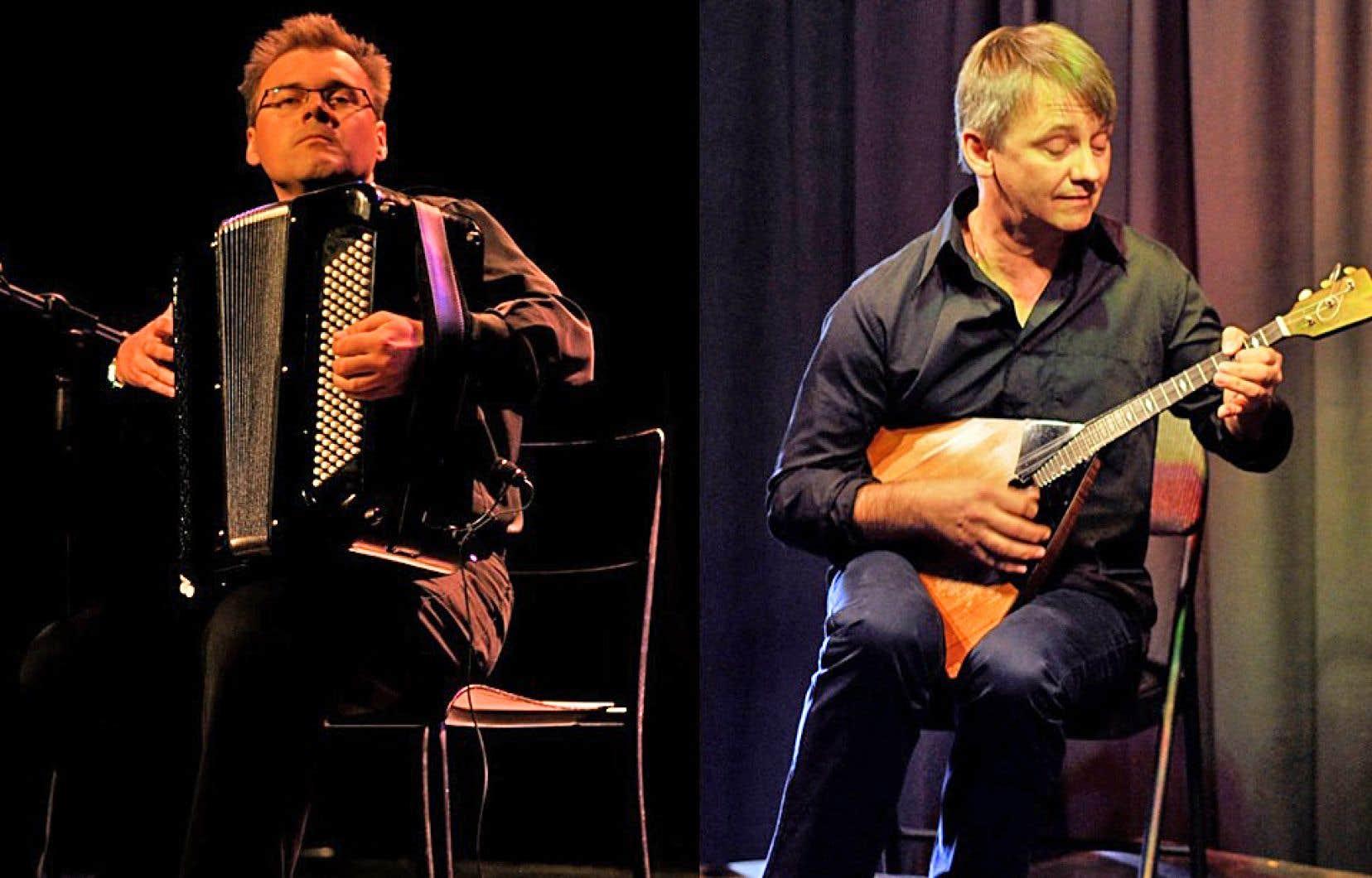 Le duo de musiciens russes Roman Jbanov (à gauche) et Alexeï Birioukov est de retour à Montmagny, où il se sont rencontrés, il y a quelques années.