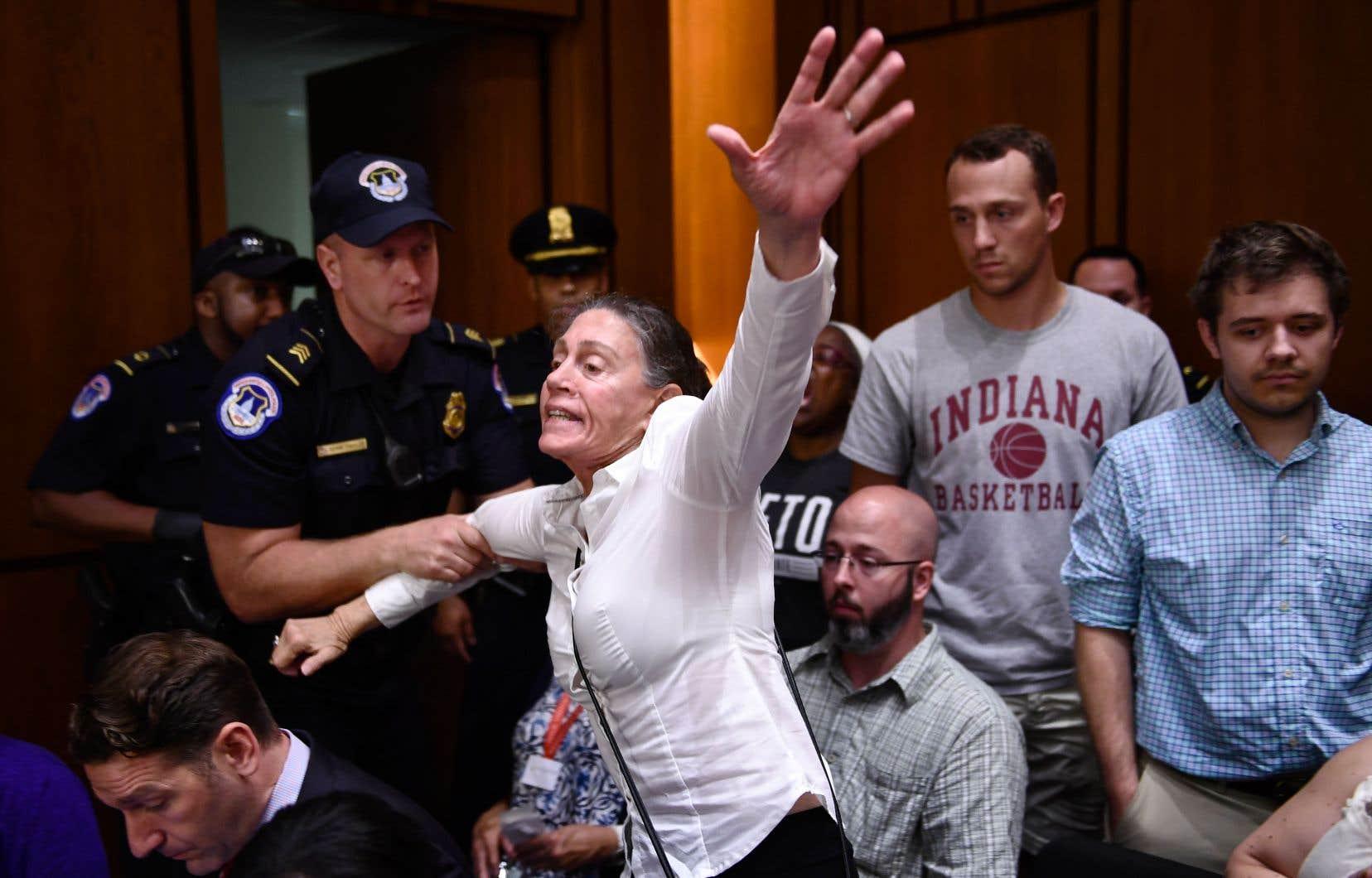 Une manifestante pendant les audiences. En tout, une trentaine de protestataires appuyant la demande de suspension des travaux ont été escortés à l'extérieur de la salle.