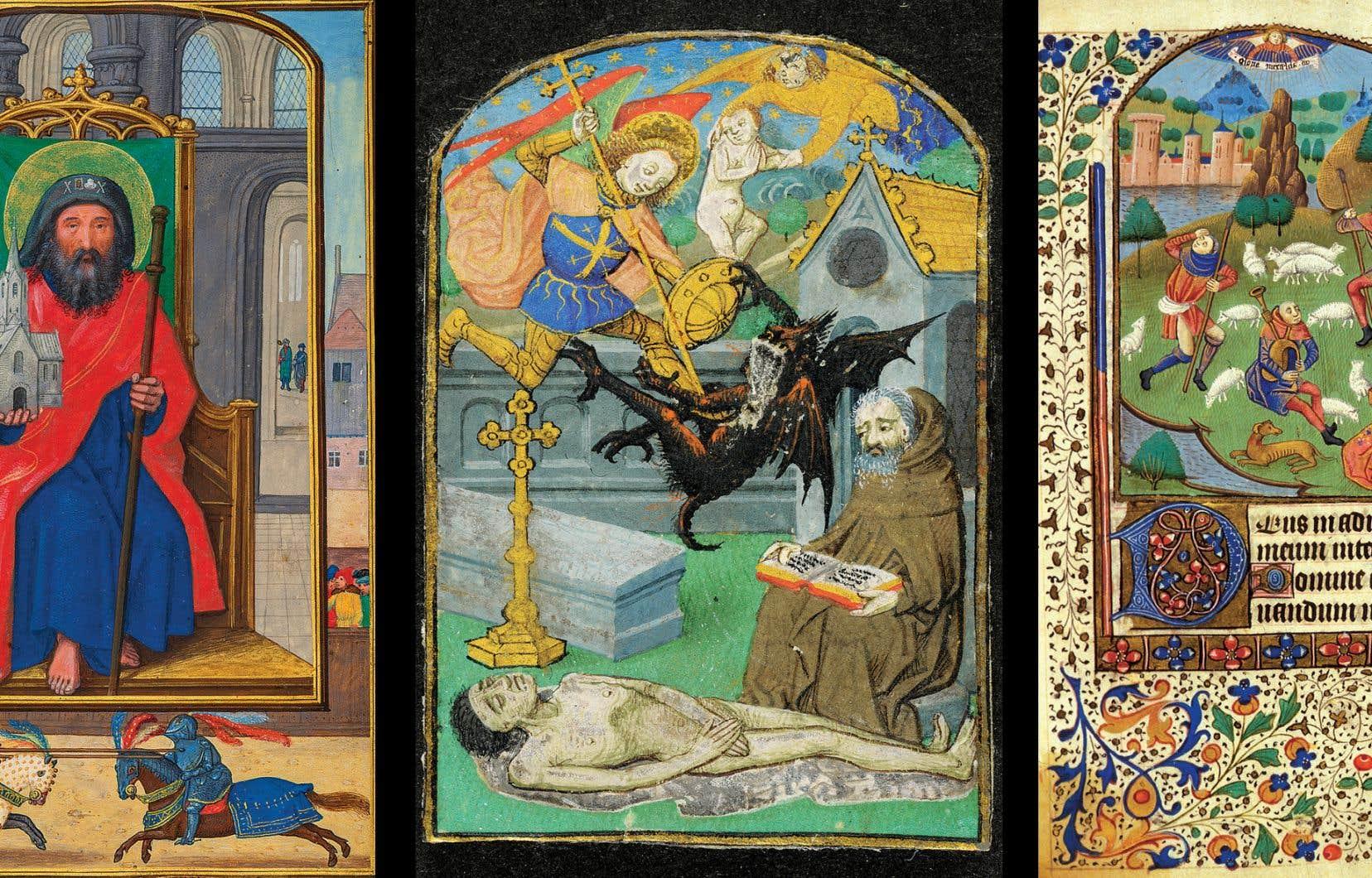 <p>À gauche : Simon Bening (1483-1561), Feuillet d'un livre d'heures : <i>Saint Sébald de Nuremberg</i>, vers 1515-1525. MBAM, achat, legs Horsley et Annie Townsend.<br /> Au centre : Maître de l'échevinage de Rouen, <i>Moine (ermite) priant pour le défunt et Combat pour son âme entre saint Michel et le diable</i>, vers 1470, Rouen, miniature extraite d'un bréviaire manuscrit en latin à l'usage de Rouen (?), de Rome (?). Montréal, Bibliothèque de l'Université McGill, Livres rares et collections spécialisées, achat de Gerhard R. Lomer, bibliothécaire universitaire de McGill, à la demande de R. Cleveland Morgan, 1927.<br /> À droite : Atelier du Maître de l'échevinage de Rouen, <i>L'Annonce aux bergers</i>, Heures de Pellegrin de Remicourt et de Madeleine Symier, vers 1470-1475, Rouen. Université du Québec à Montréal, Bibliothèque des arts, Collections spéciales, legs de l'École des Beaux-Arts de Montréal, 1969.</p>