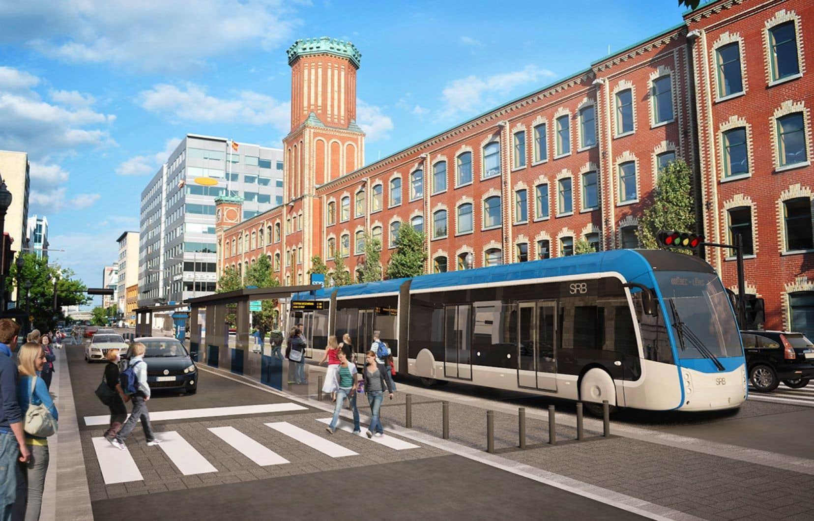 Le document de la CAQ parle d'un projet de «transport structurant», mais François Legault a bien précisé qu'il pense à un tramway pour la Ville de Québec.