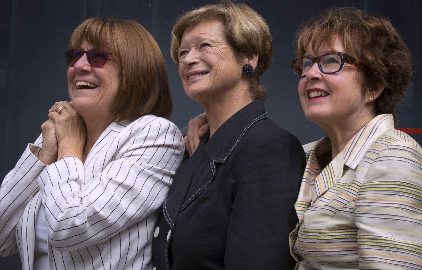 Les anciennes élues québécoises à la source de l'initiative réclamant une loi sur la parité: Christiane Pelchat, Marie Malavoy et Carole Théberge (de gauche à droite)