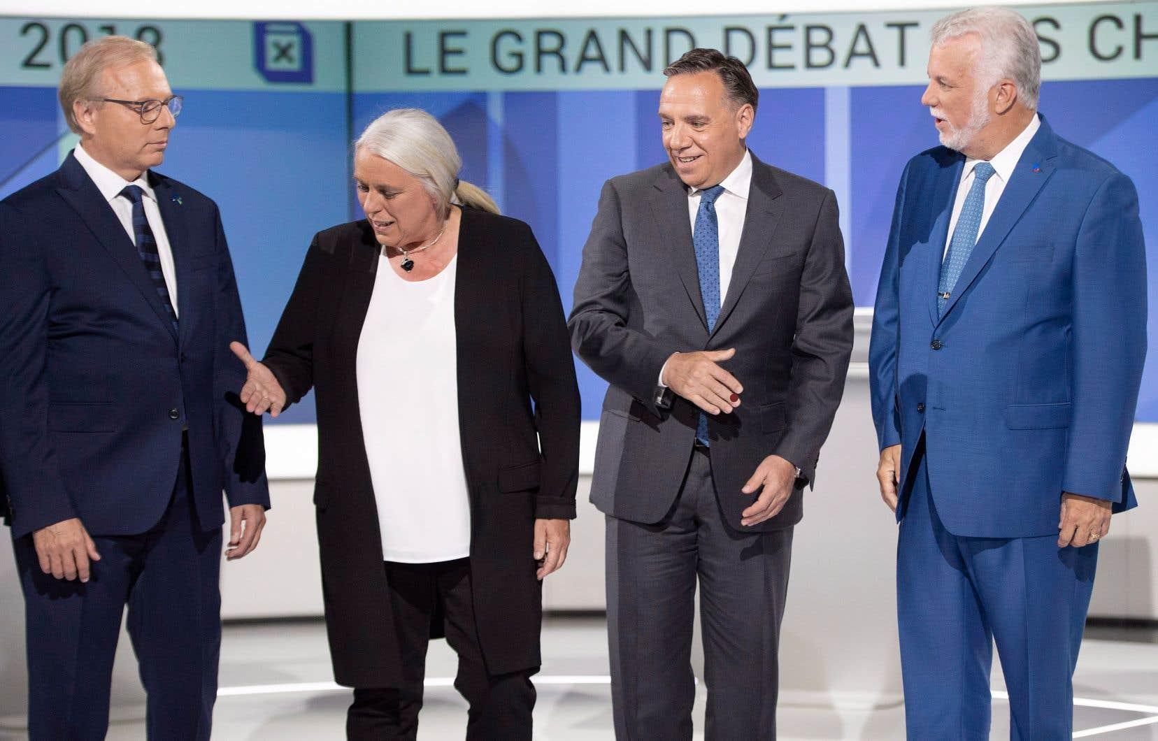 Jean-François Lisée, Manon Massé, François Legault et Philippe Couillard ont participé au débat des chefs en français jeudi dernier.
