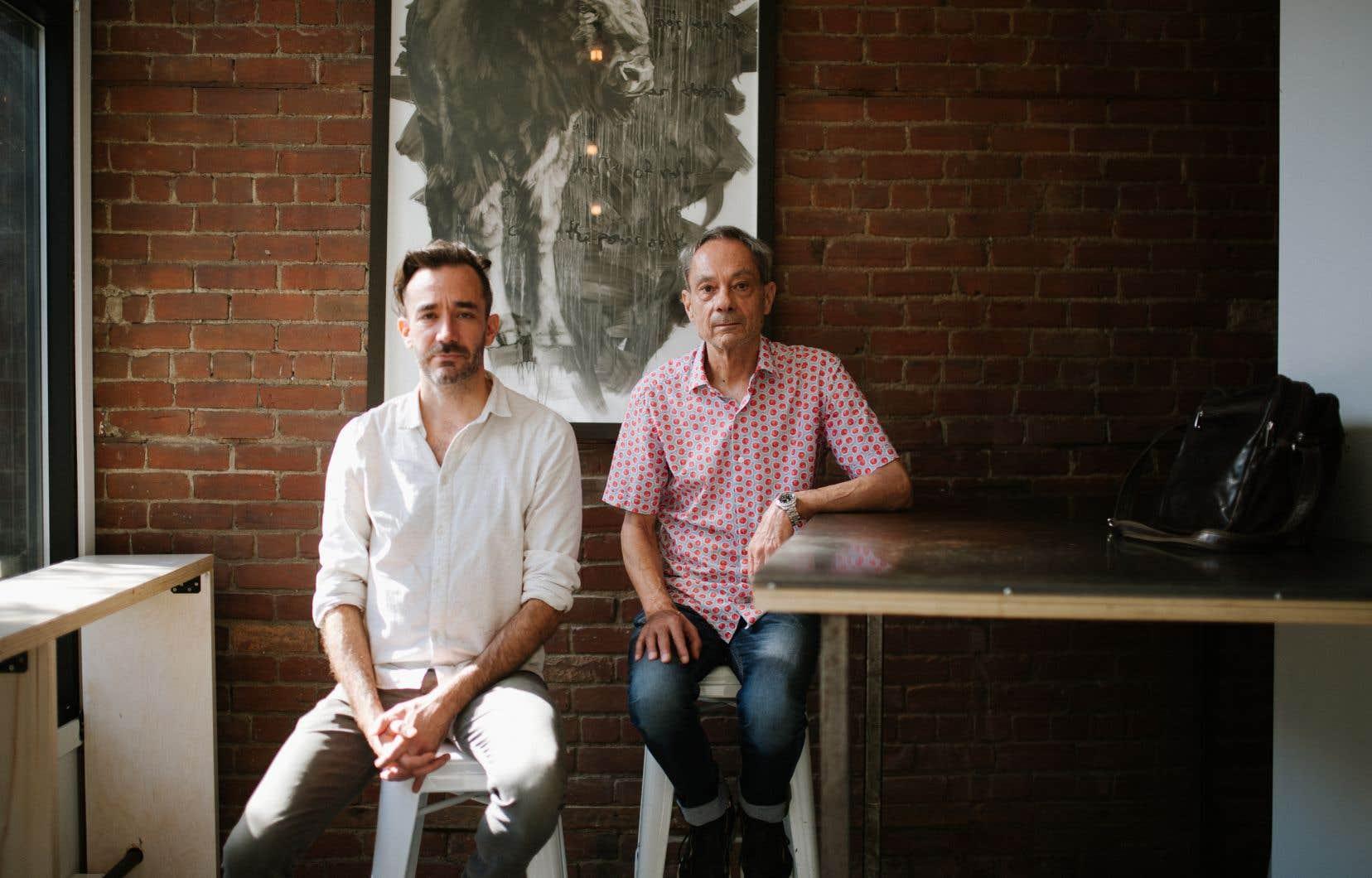 Frédérick Gravel (à gauche) devient figure de proue et image médiatique de DLD. Cette passation a été ardue à faire accepter, et Daniel Léveillé (à droite) a dû considérer l'idée de mettre la clé sous la porte.