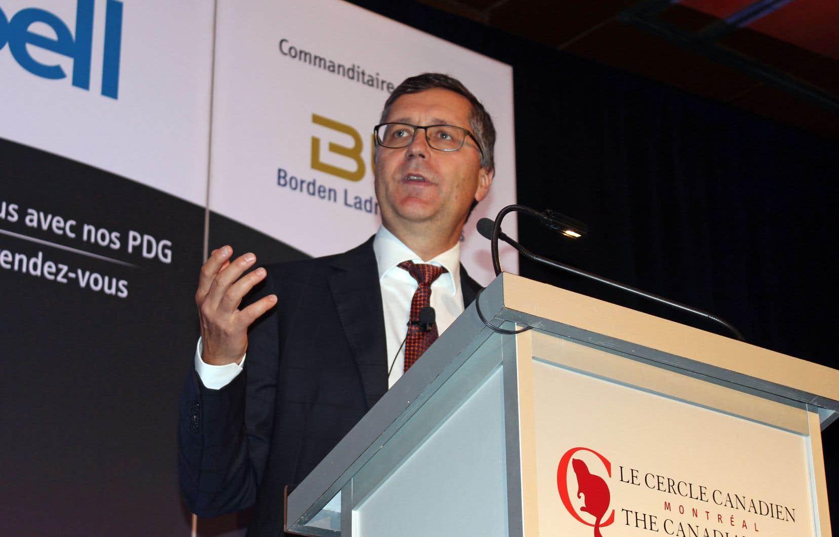Le patron de l'Industrielle Alliance, Denis Ricard, lors d'une allocution au Cercle canadien de Montréal