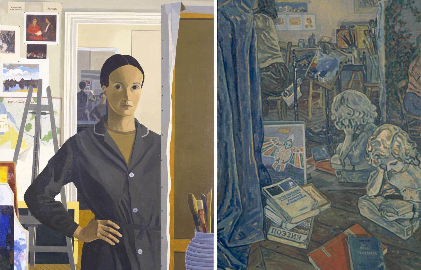 À gauche: Marcella Maltais, autoportrait (1972-1973). À droite: Marcella Maltais, «Un beau ténébreux» (1986).