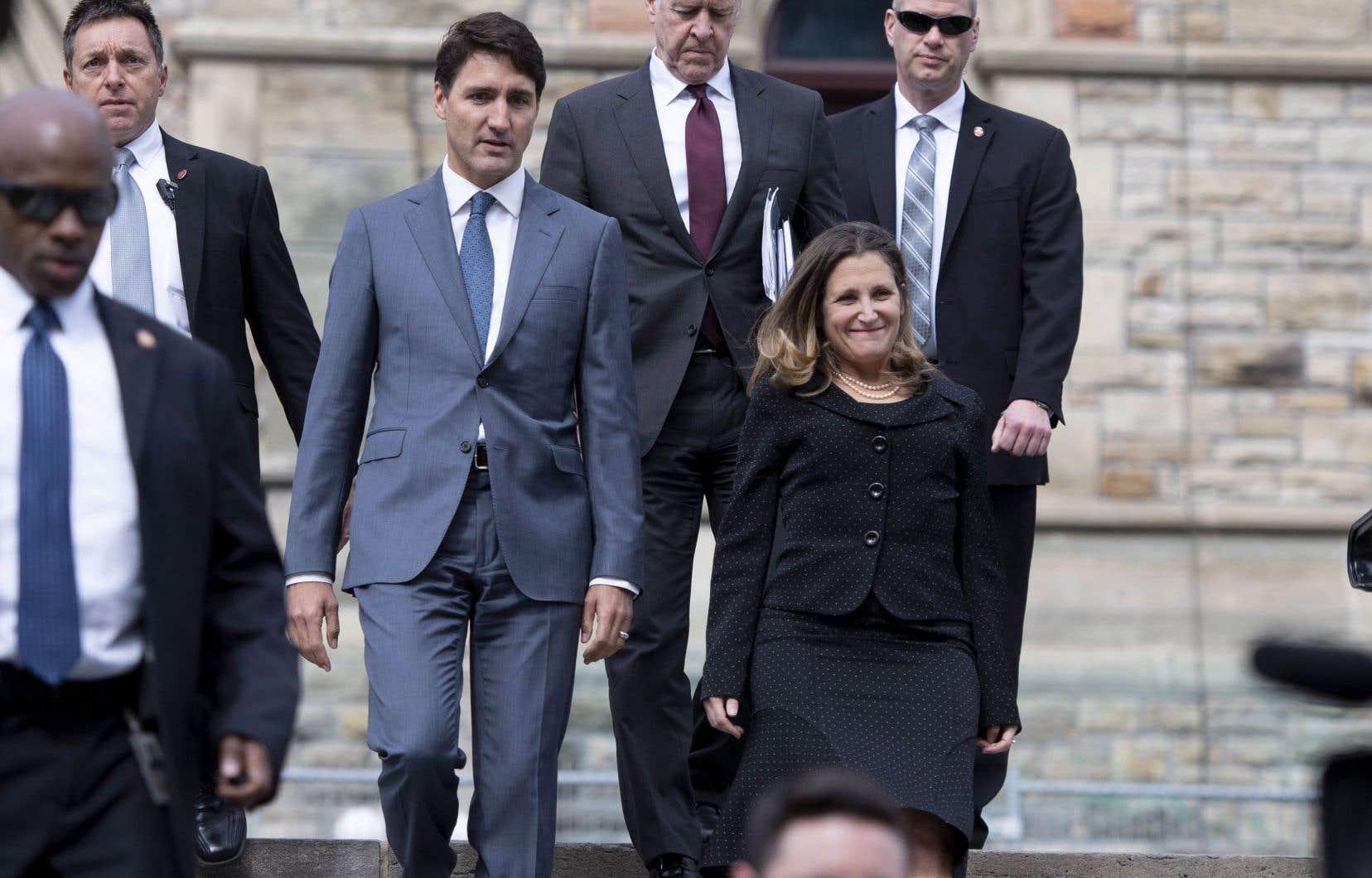 Le premier ministre canadien Justin Trudeau et la ministre du Commerce international Chrystia Freeland