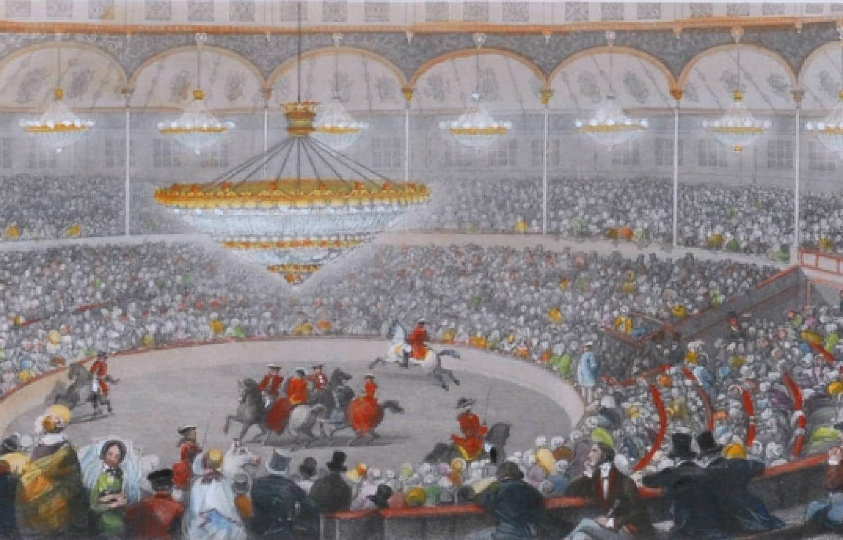 Cirque de l'Impératrice, estampe de Lami, 1845, tiré de l'exposition Du permanent à l'éphémère: espaces de cirque.