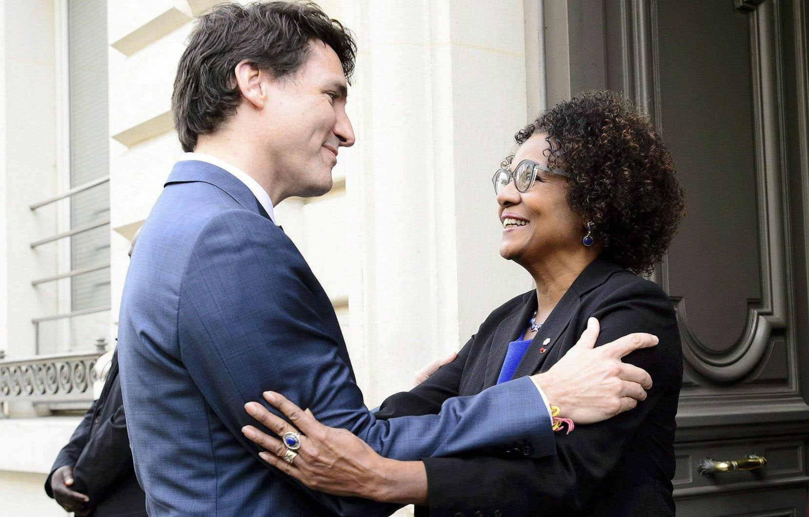 Le premier ministre du Canada, Justin Trudeau, s'est rendu à la rencontre de Michaëlle Jean au siège social de l'Organisation internationale de la Francophonie à Paris en avril dernier.