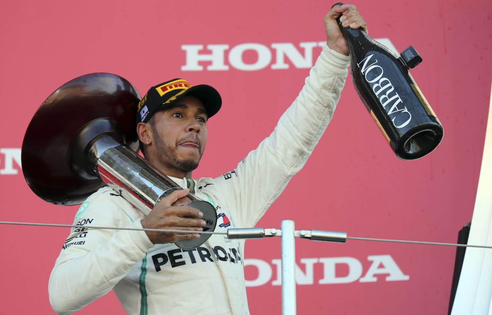 Le pilote britannique Lewis Hamilton après sa victoire, dimanche