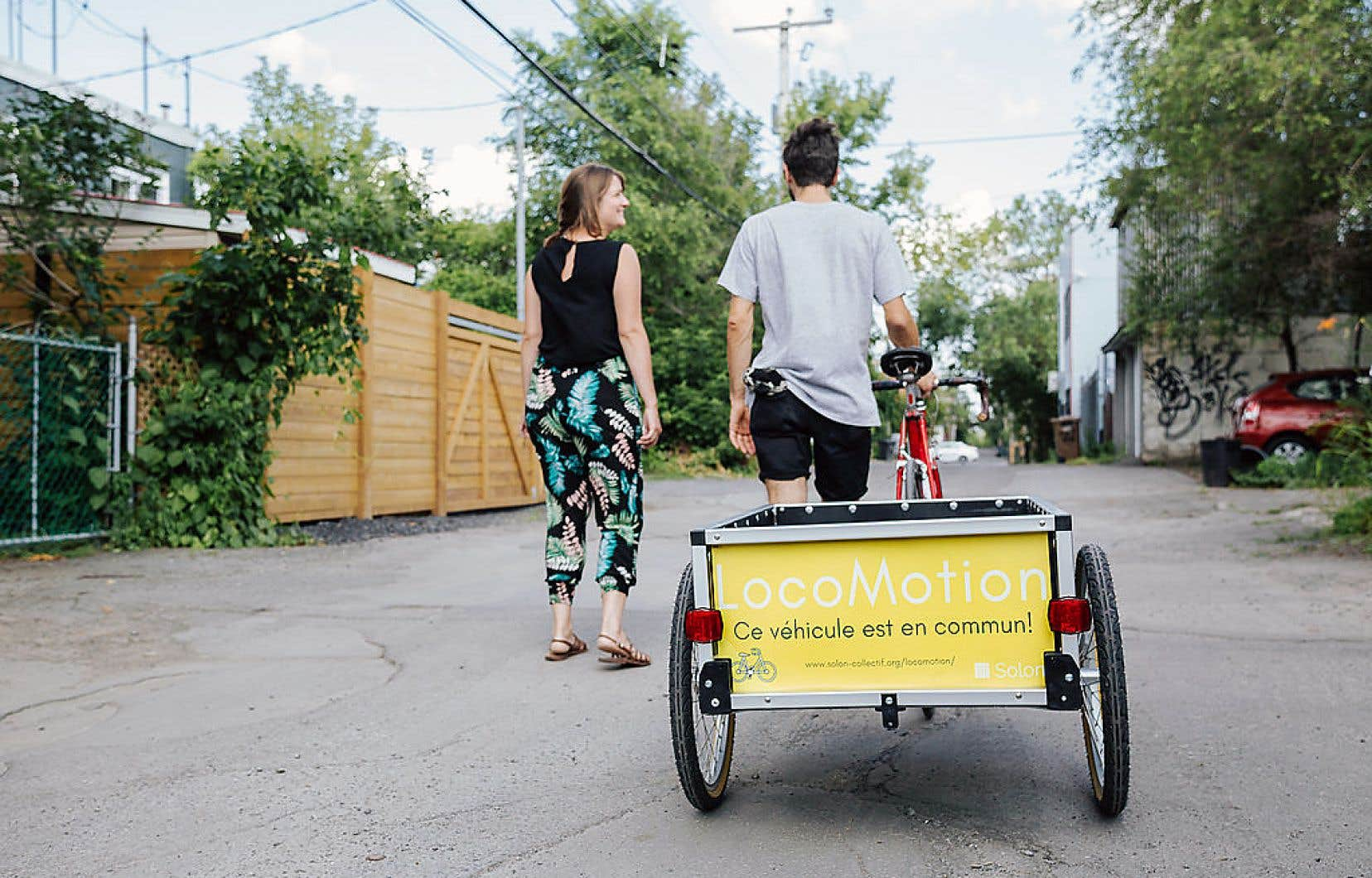 LocoMotion permet le partage de remorques pour vélo qui peuvent être décadenassées par les participants à l'aide d'une application mobile.