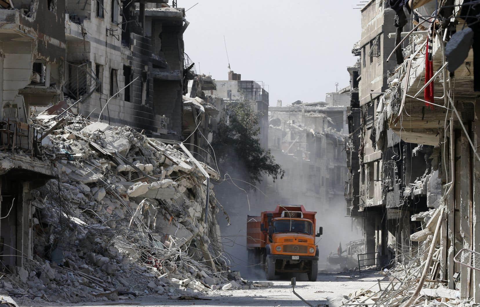 L'ampleur de la destruction causée par des années de combats est bien visible à Damas, la capitale de la Syrie.