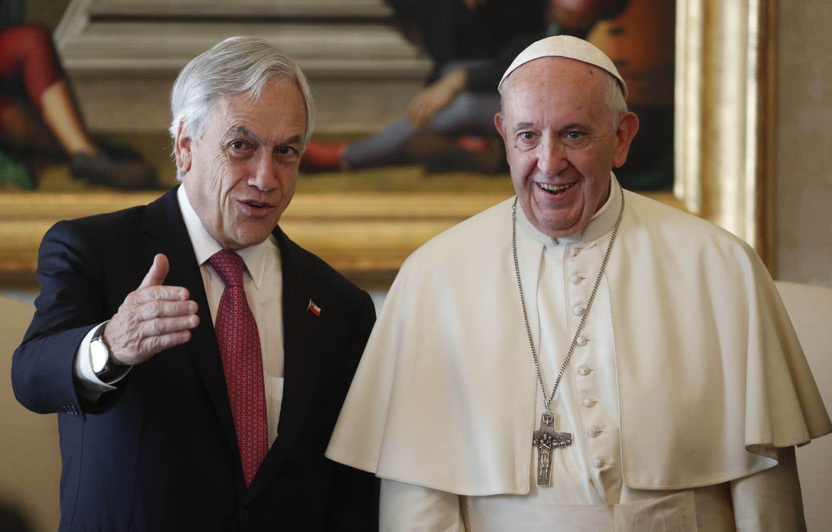 Leprésident chilien Sebastian Piñera et le pape François, au Vatican.